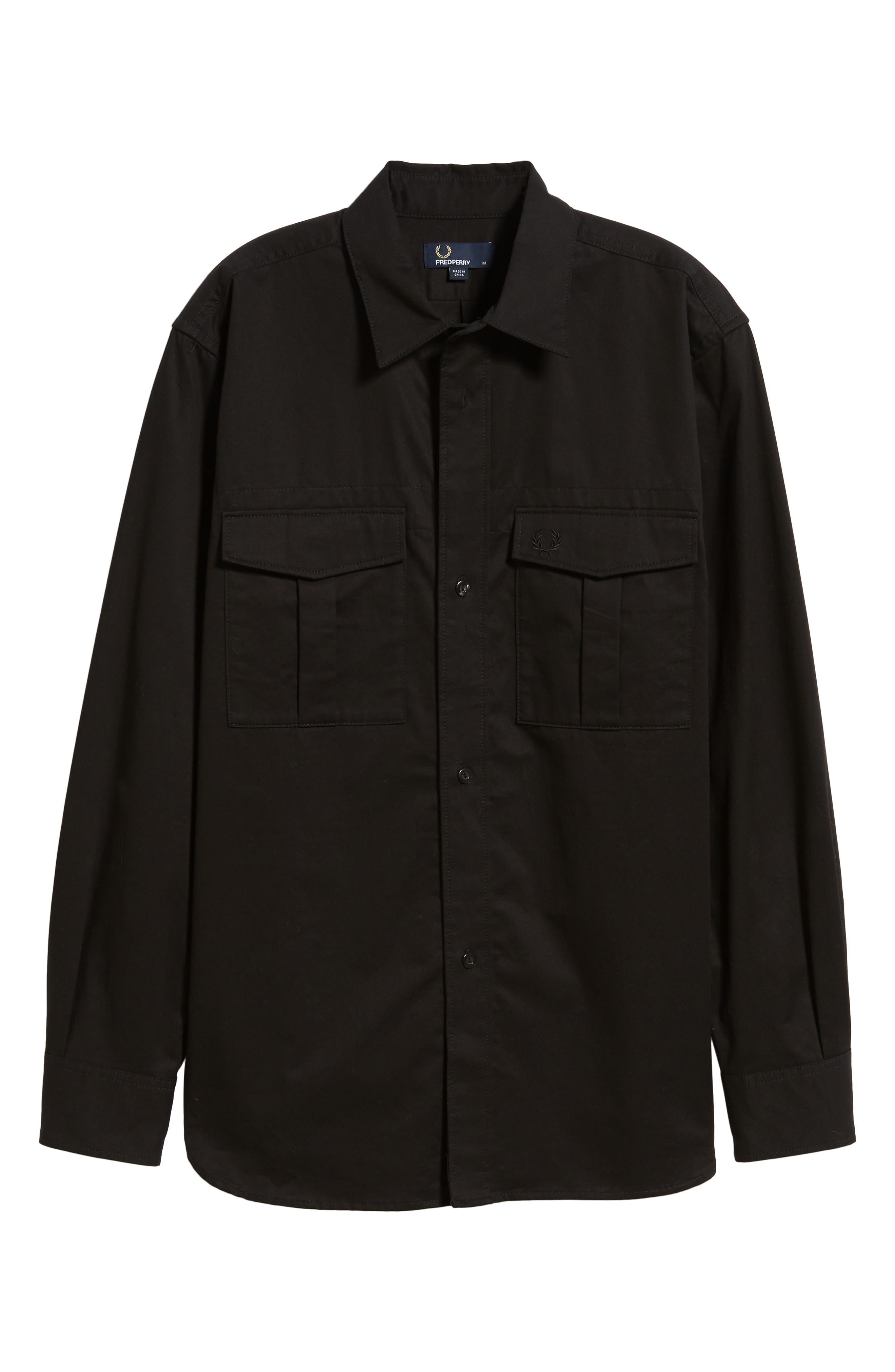 Utility Sport Shirt,                             Alternate thumbnail 5, color,                             BLACK
