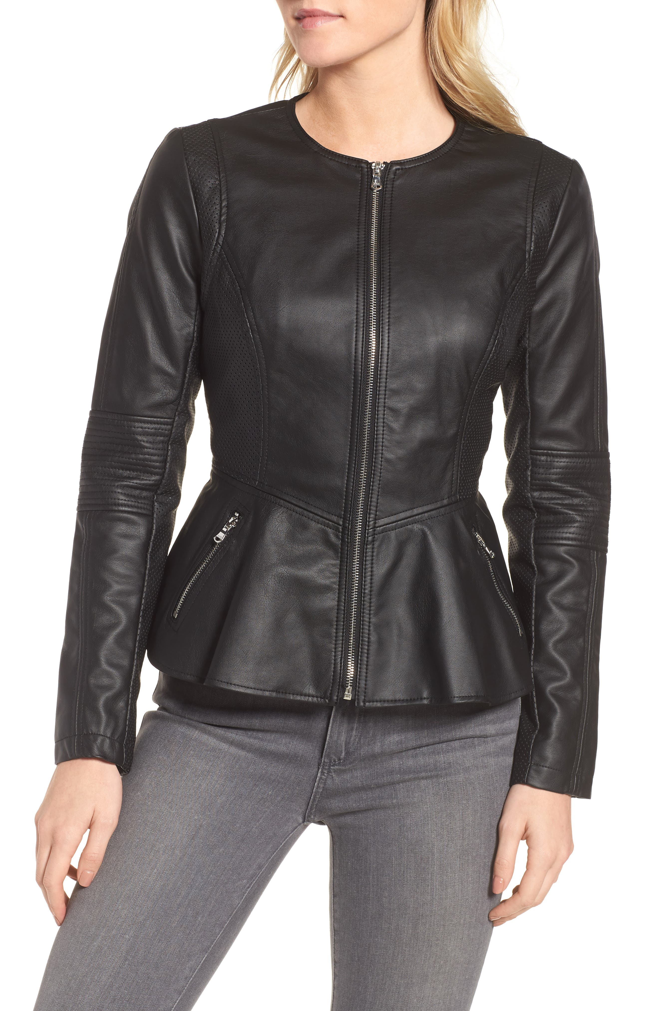 Perforated Peplum Hem Faux Leather Jacket,                             Alternate thumbnail 4, color,                             001