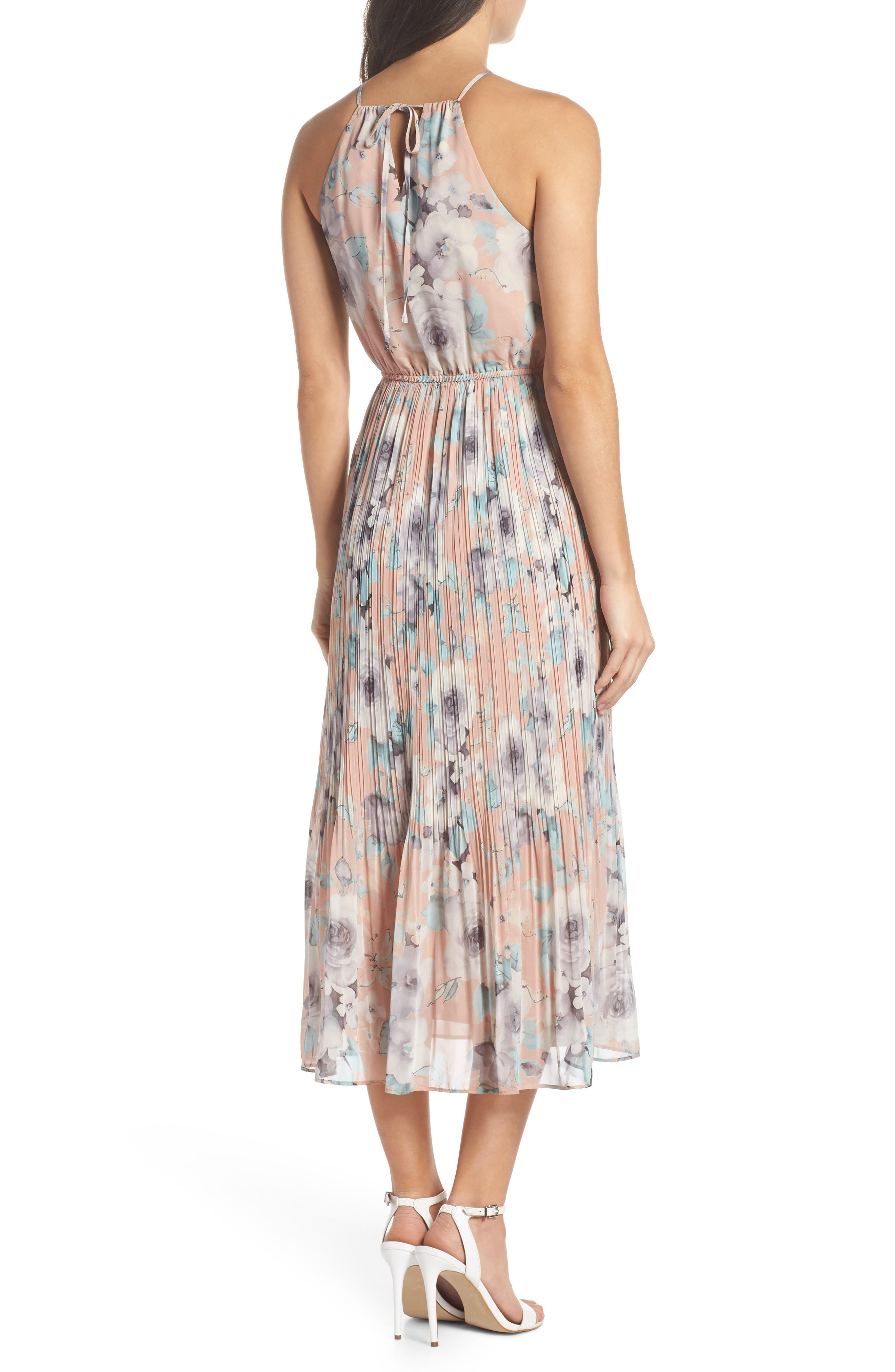 Pleated Floral Halter Dress,                             Alternate thumbnail 2, color,                             650