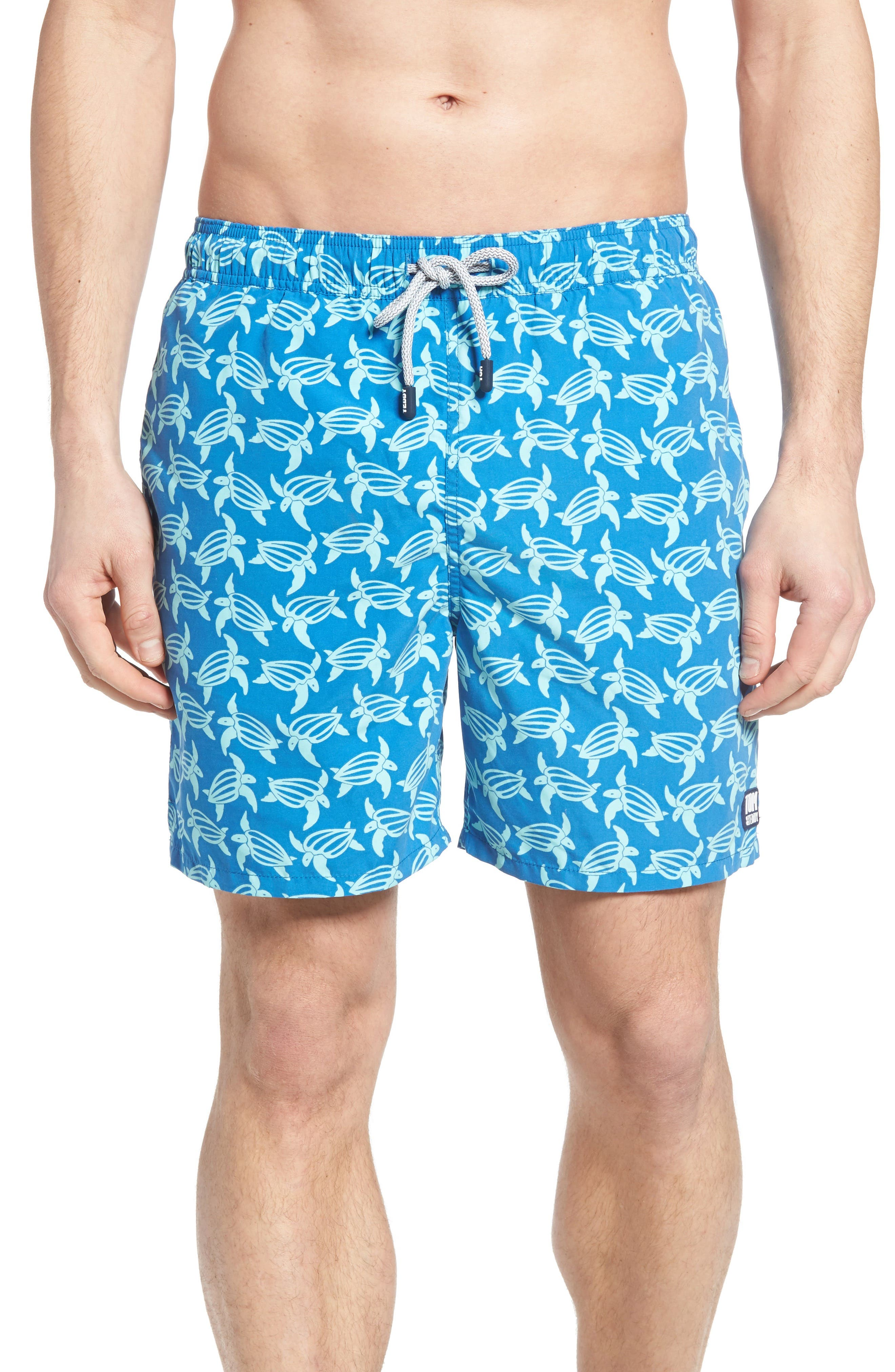 Turtle Print Swim Trunks,                             Main thumbnail 1, color,                             MID BLUE AND SKY
