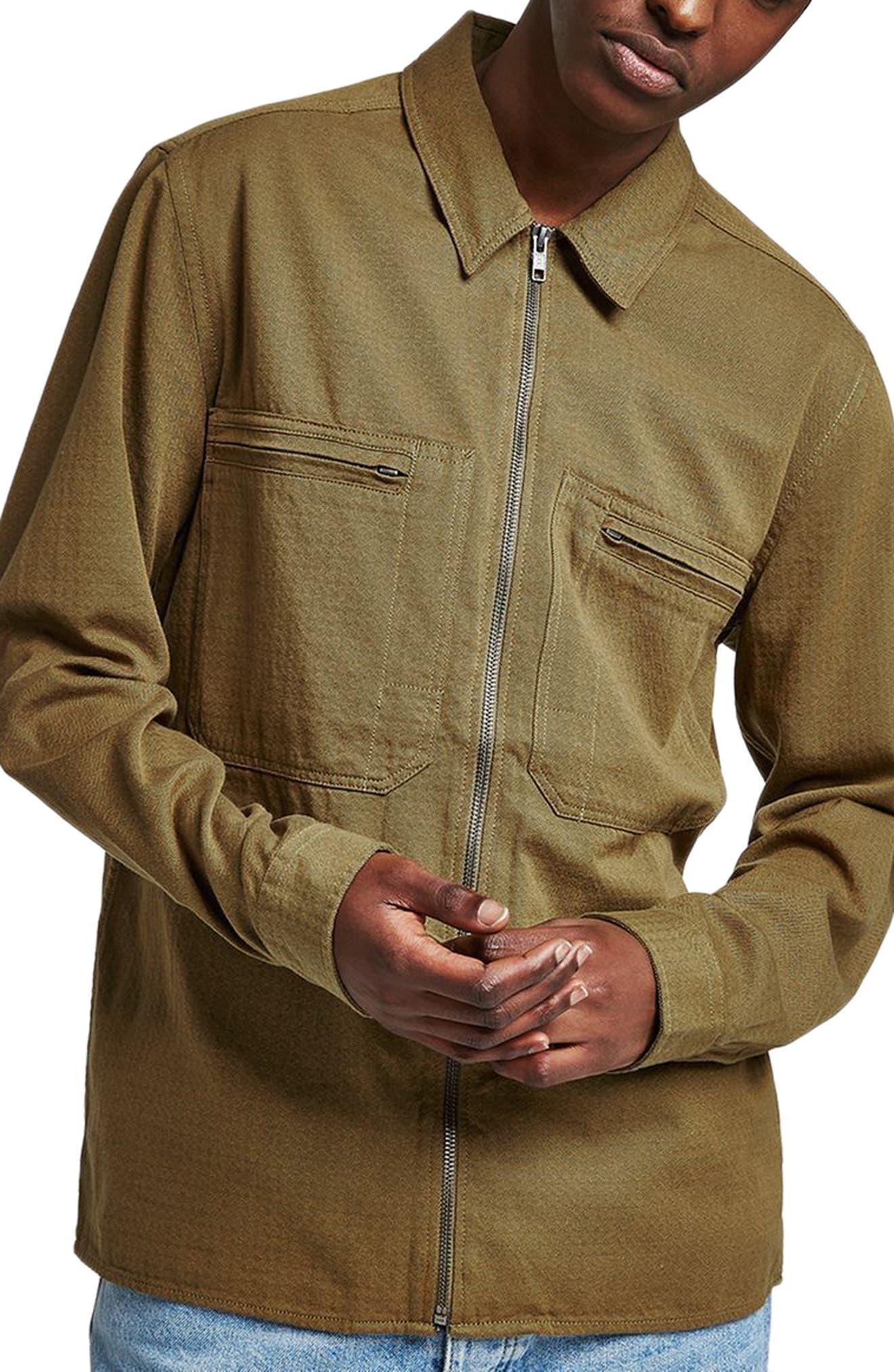 Zip Shirt Jacket,                         Main,                         color, GREEN