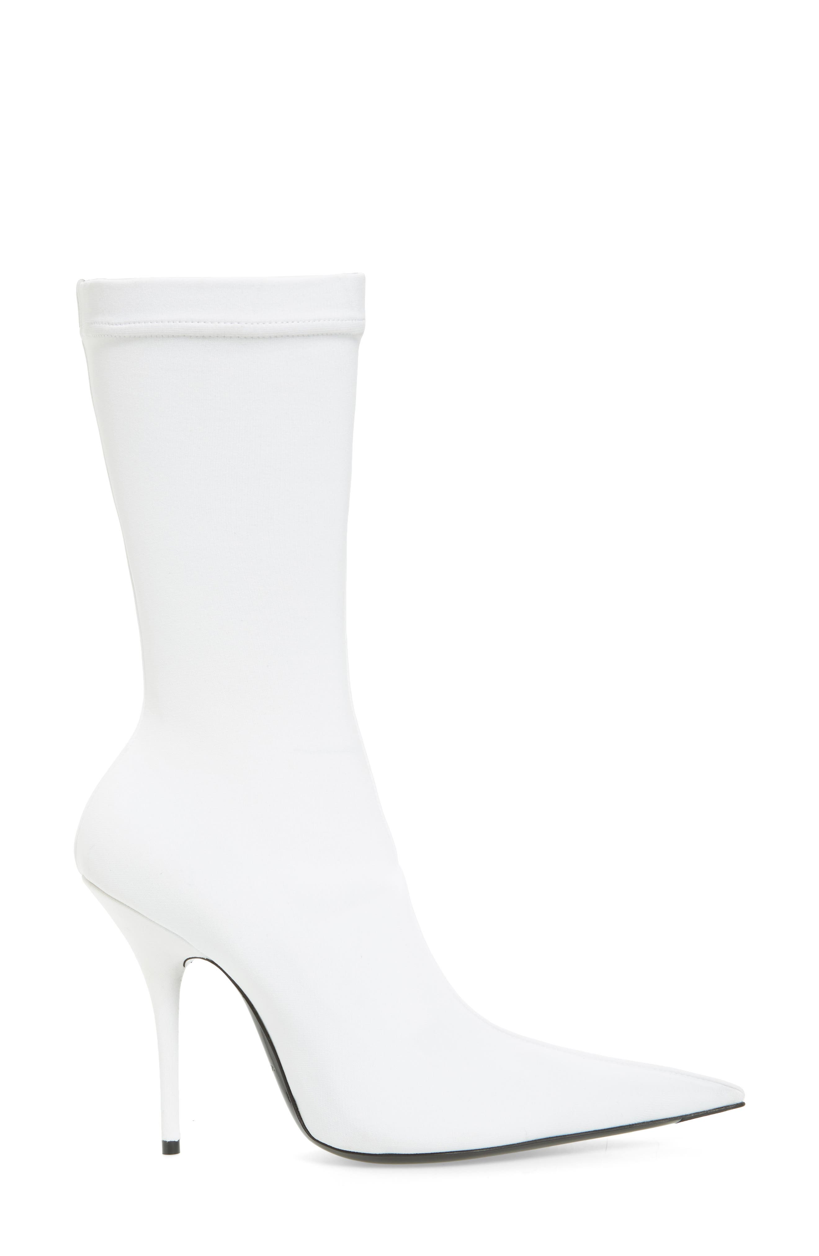 Pointy Toe Mid Boot,                             Alternate thumbnail 3, color,                             WHITE