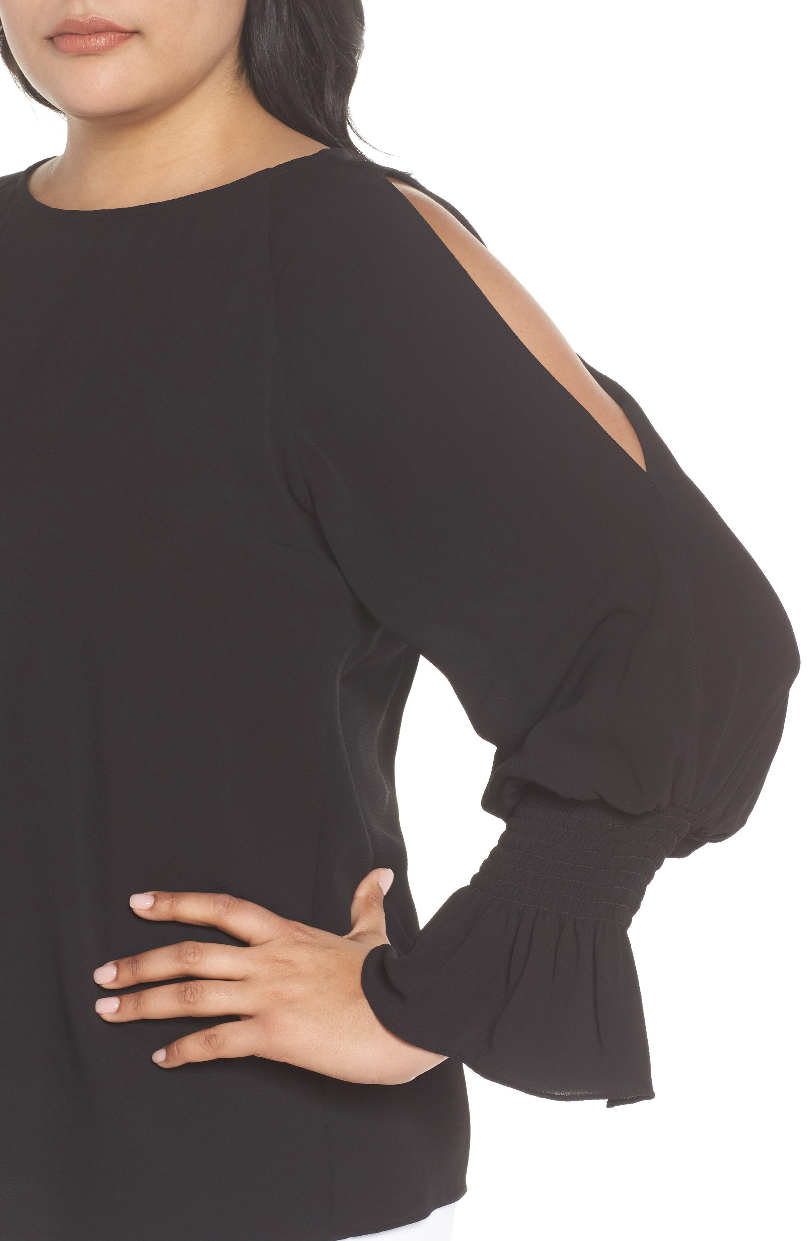 Cold Shoulder Flare Cuff Top,                             Alternate thumbnail 4, color,                             RICH BLACK