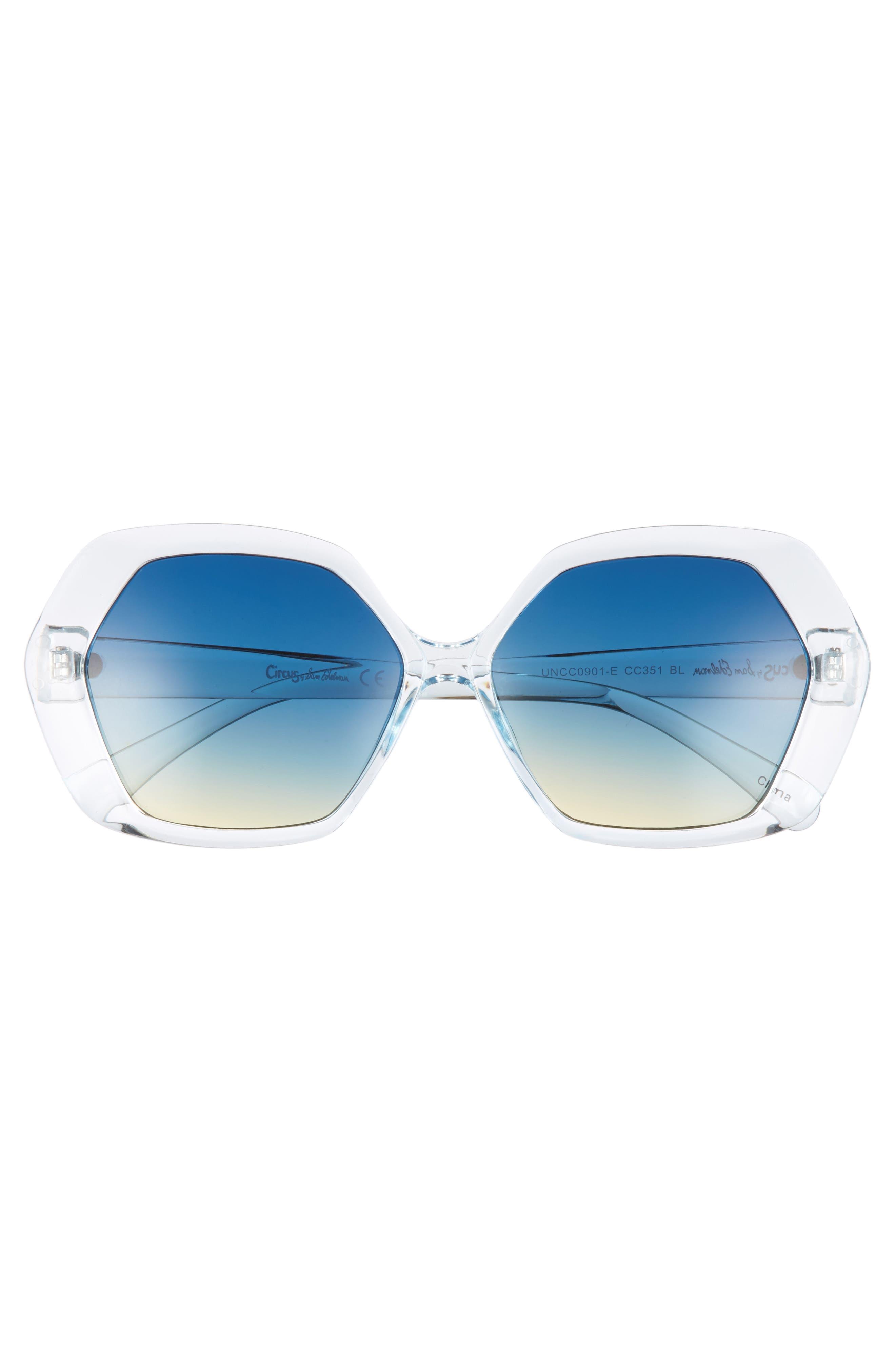 57mm Geo Glam Sunglasses,                             Alternate thumbnail 3, color,                             400