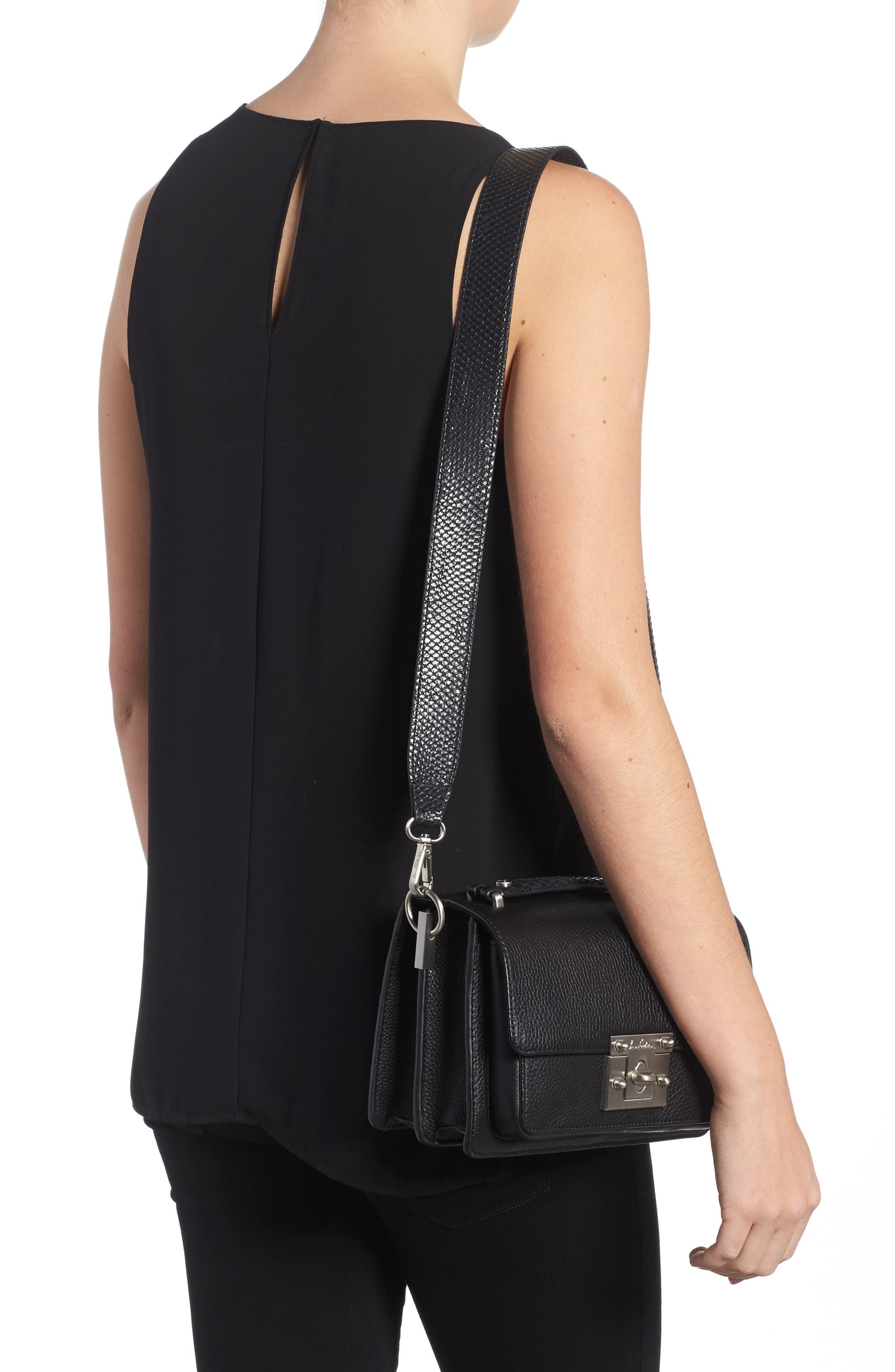 Gessica Leather Shoulder Bag,                             Alternate thumbnail 2, color,                             001