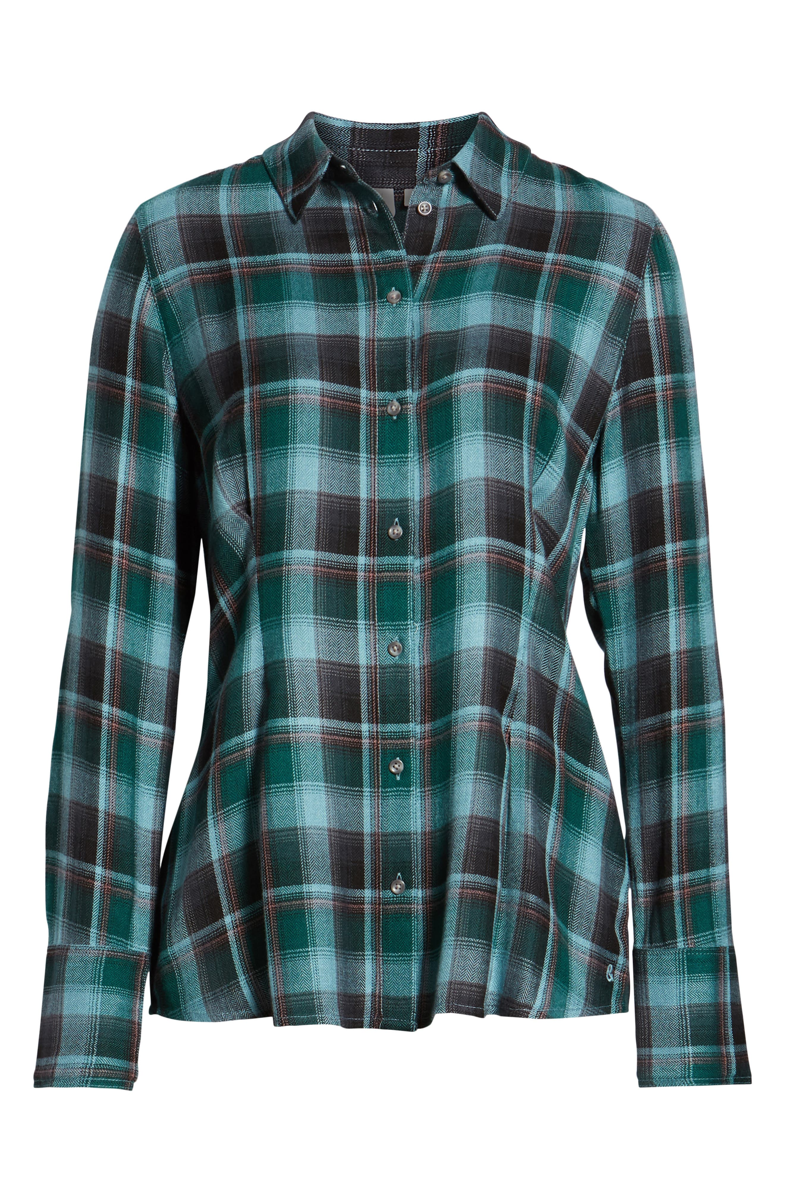 Plaid Corset Shirt,                             Alternate thumbnail 6, color,                             BLUE SMOKE BLANKET CHECK
