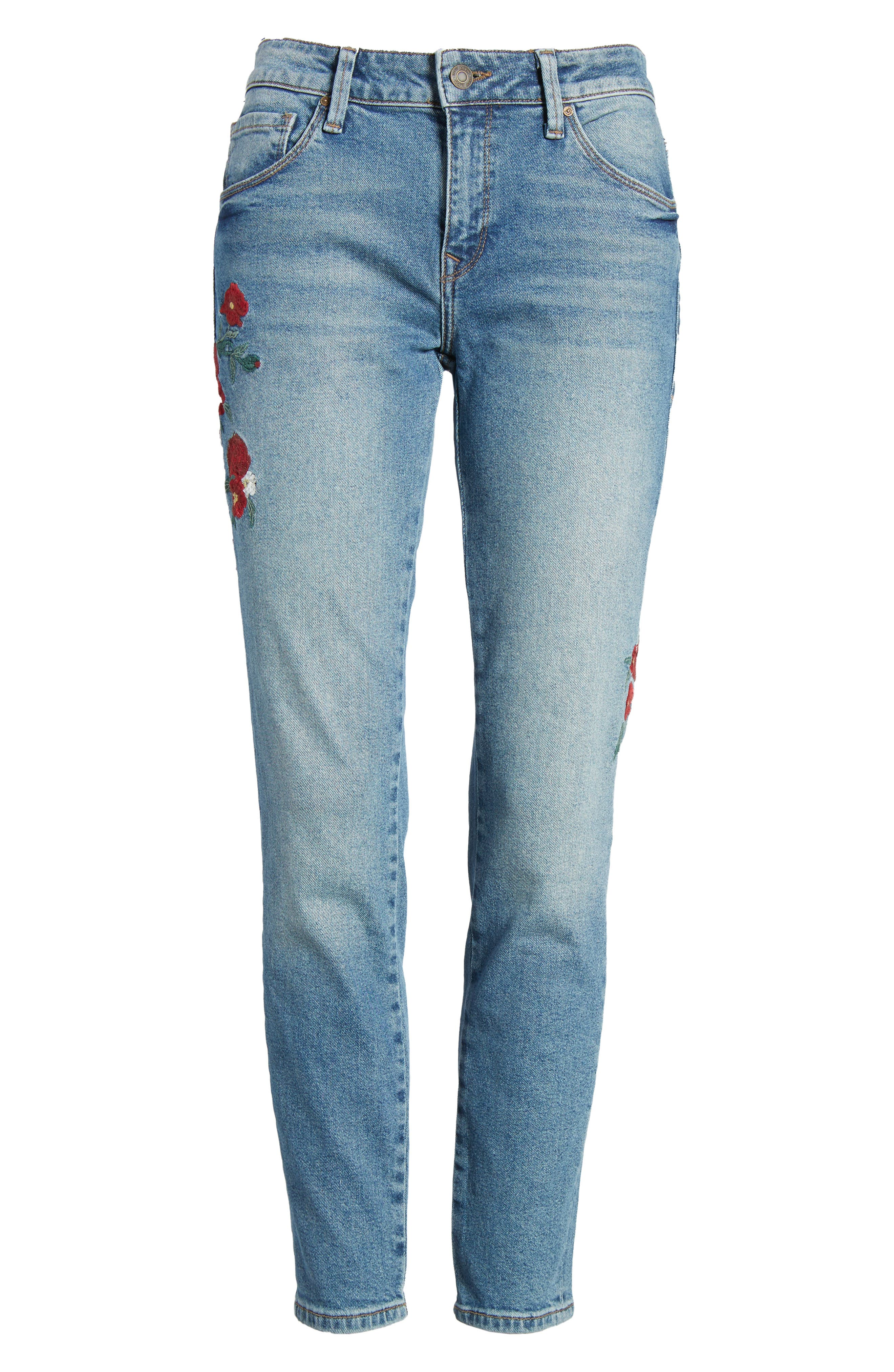 Adriana Embroidered Ankle Skinny Jeans,                             Alternate thumbnail 6, color,                             420