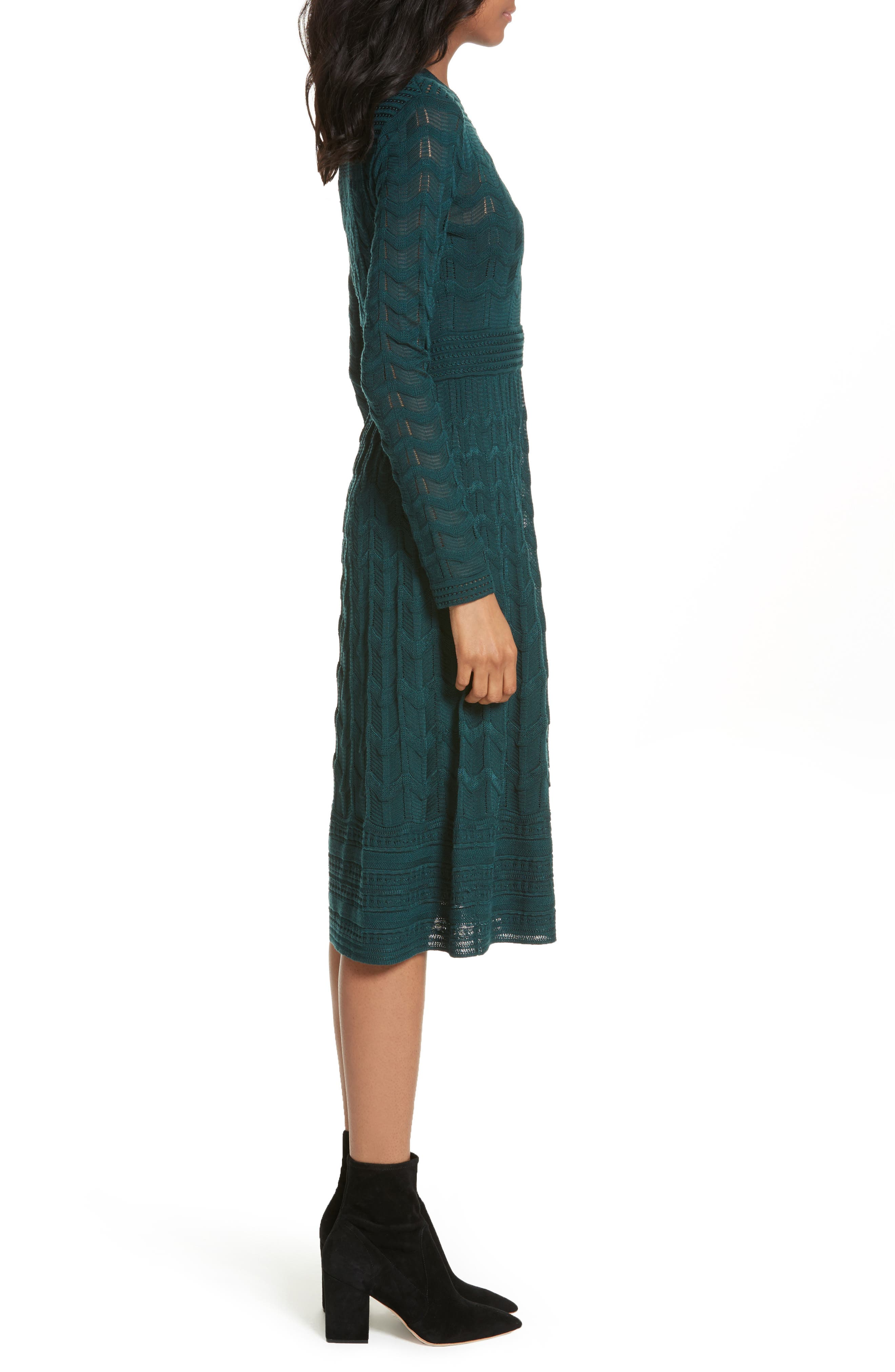 Mesh Detail A-Line Dress,                             Alternate thumbnail 3, color,                             440