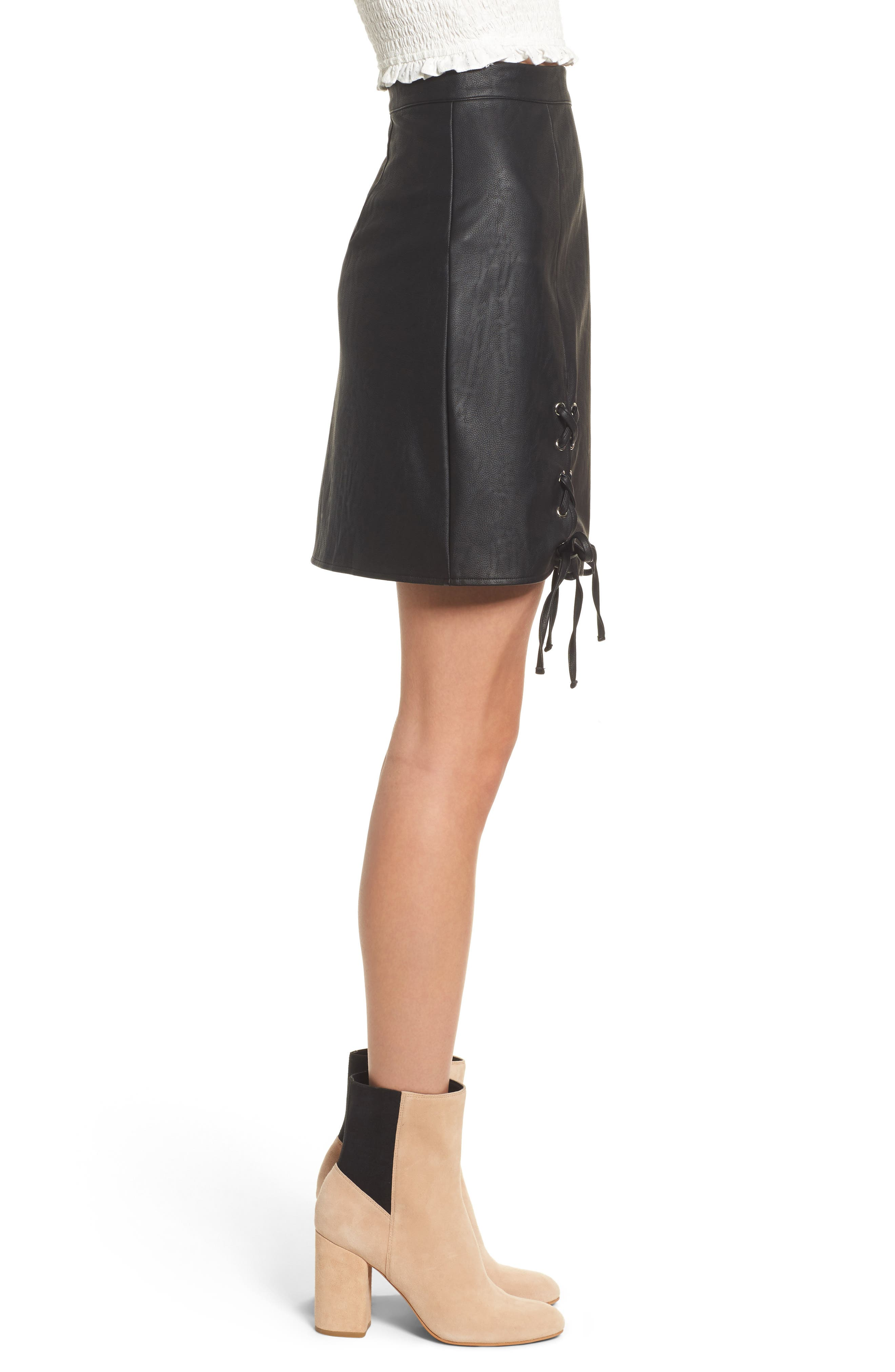 Dakota Lace Up Faux Leather Skirt,                             Alternate thumbnail 3, color,                             001