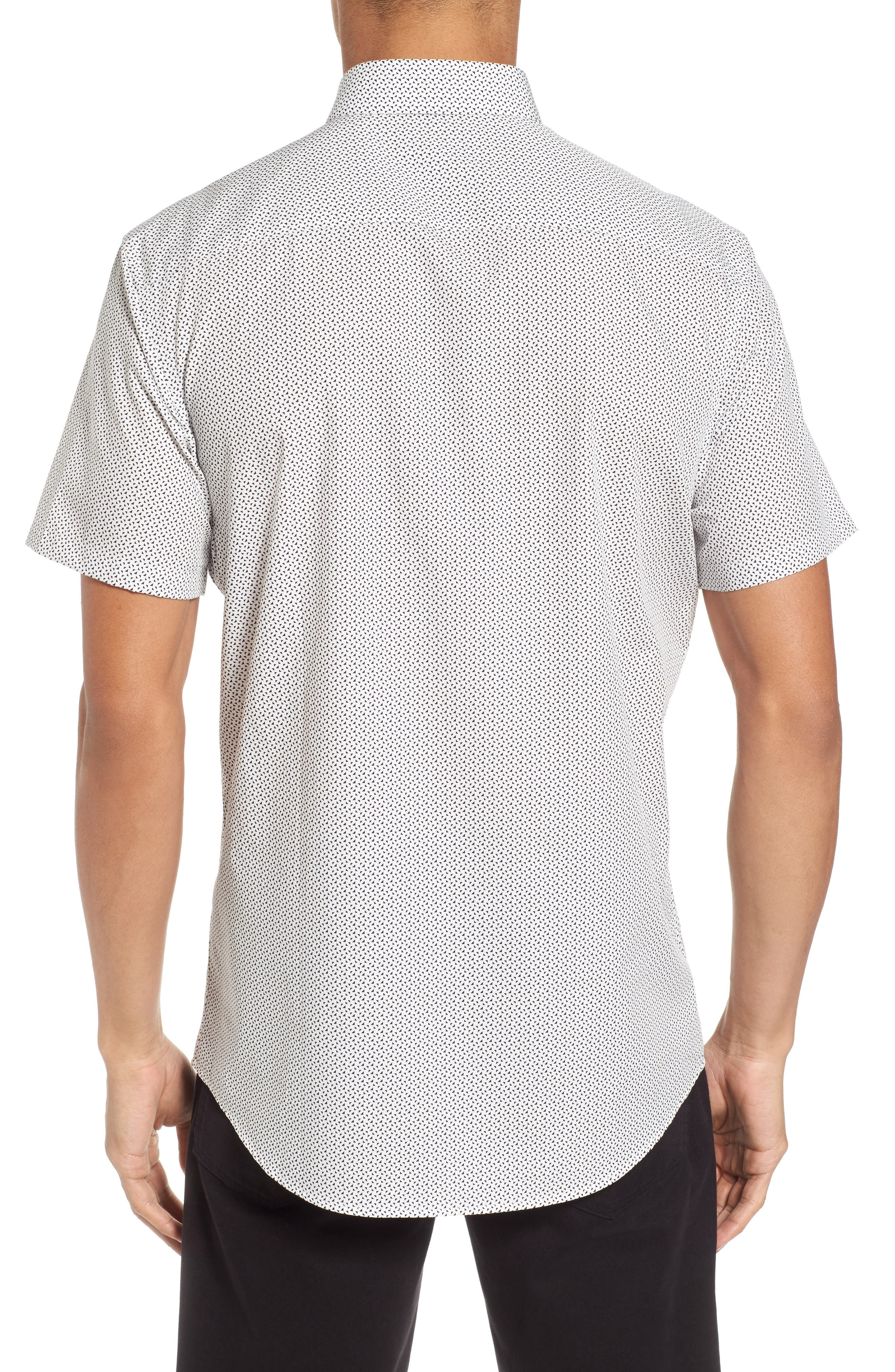 Slim Fit Print Short Sleeve Sport Shirt,                             Alternate thumbnail 2, color,                             100