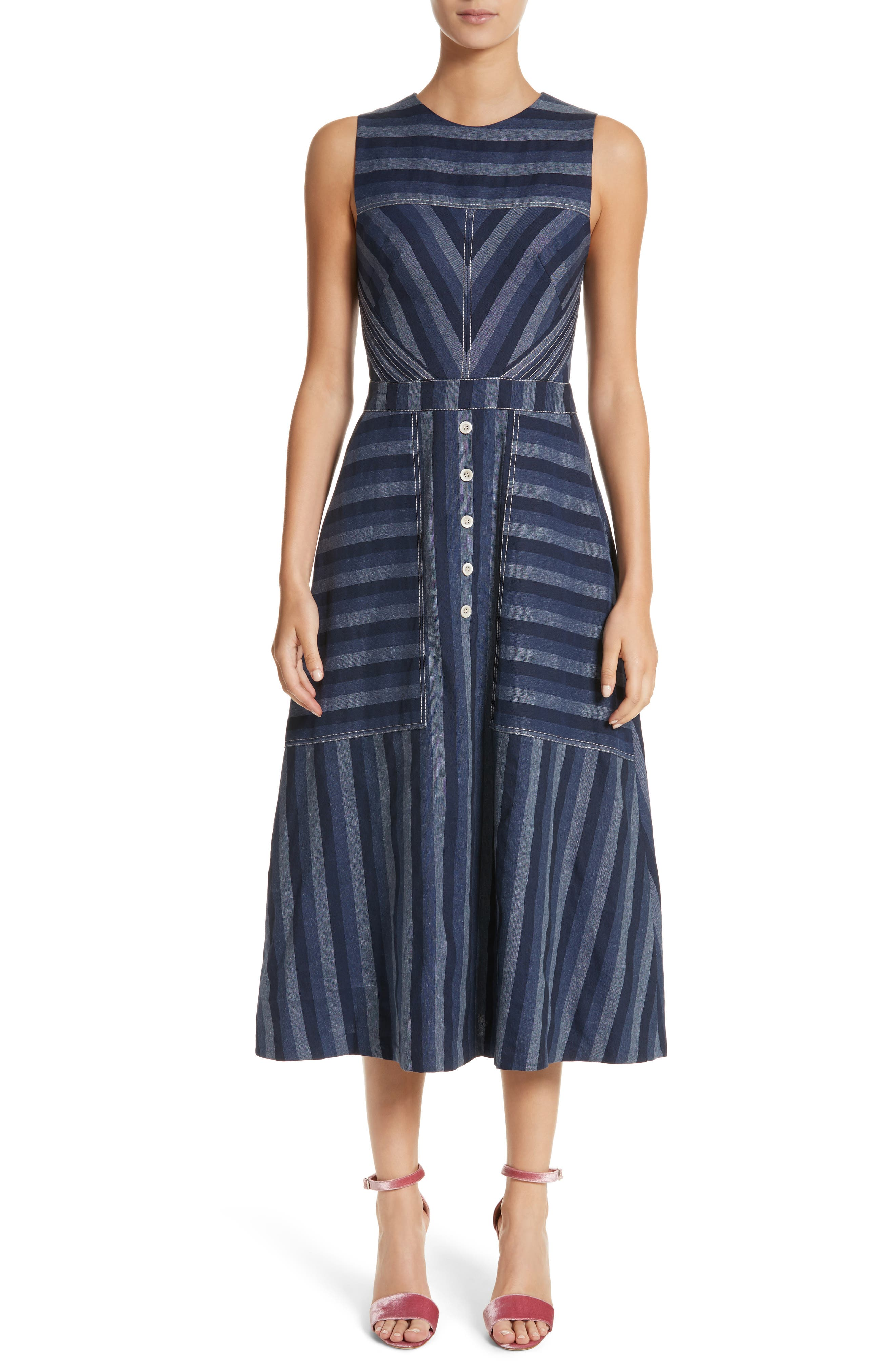 Stripe Denim Midi Dress,                             Main thumbnail 1, color,                             410