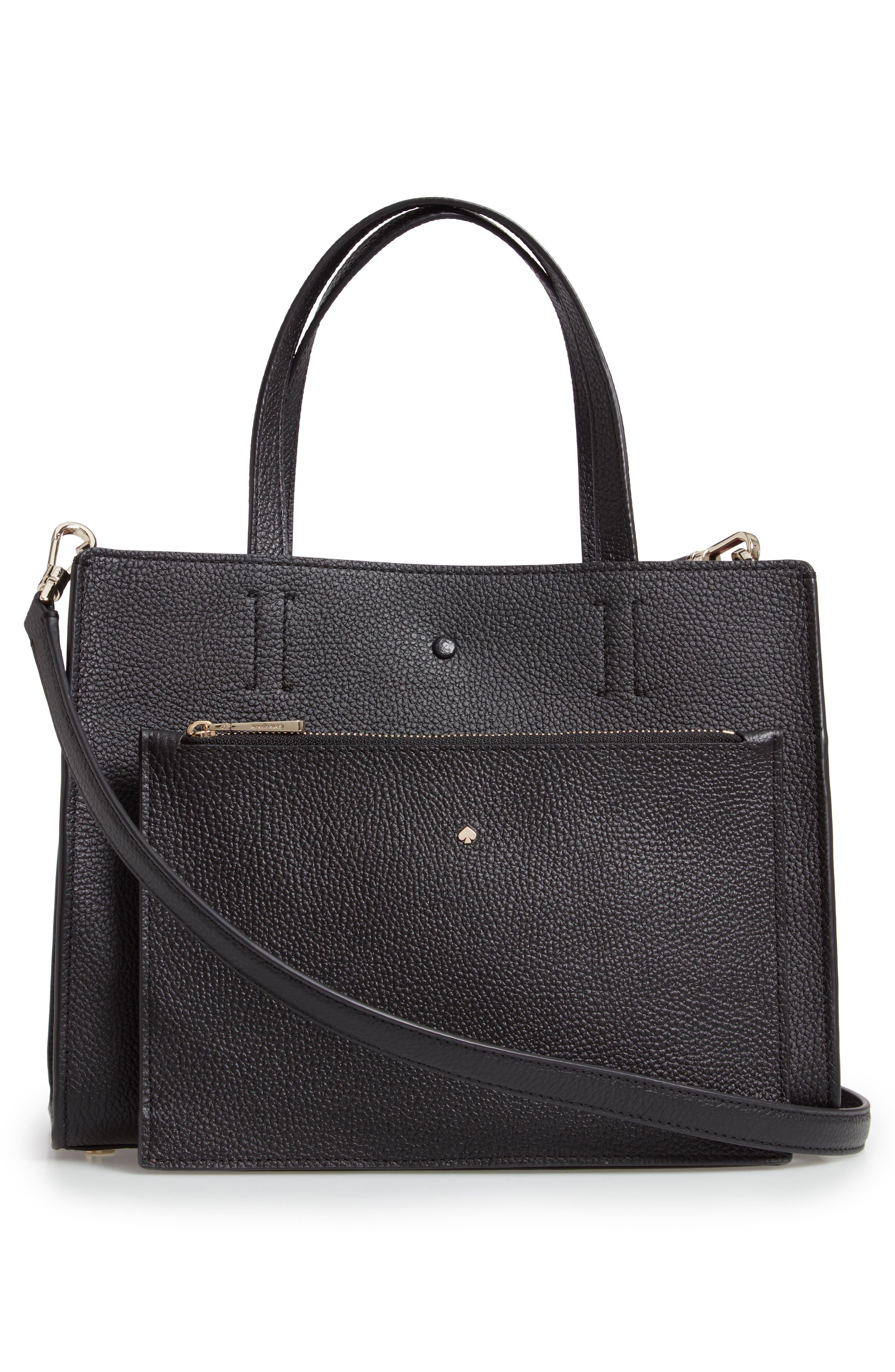 medium sam leather satchel,                             Alternate thumbnail 3, color,                             BLACK