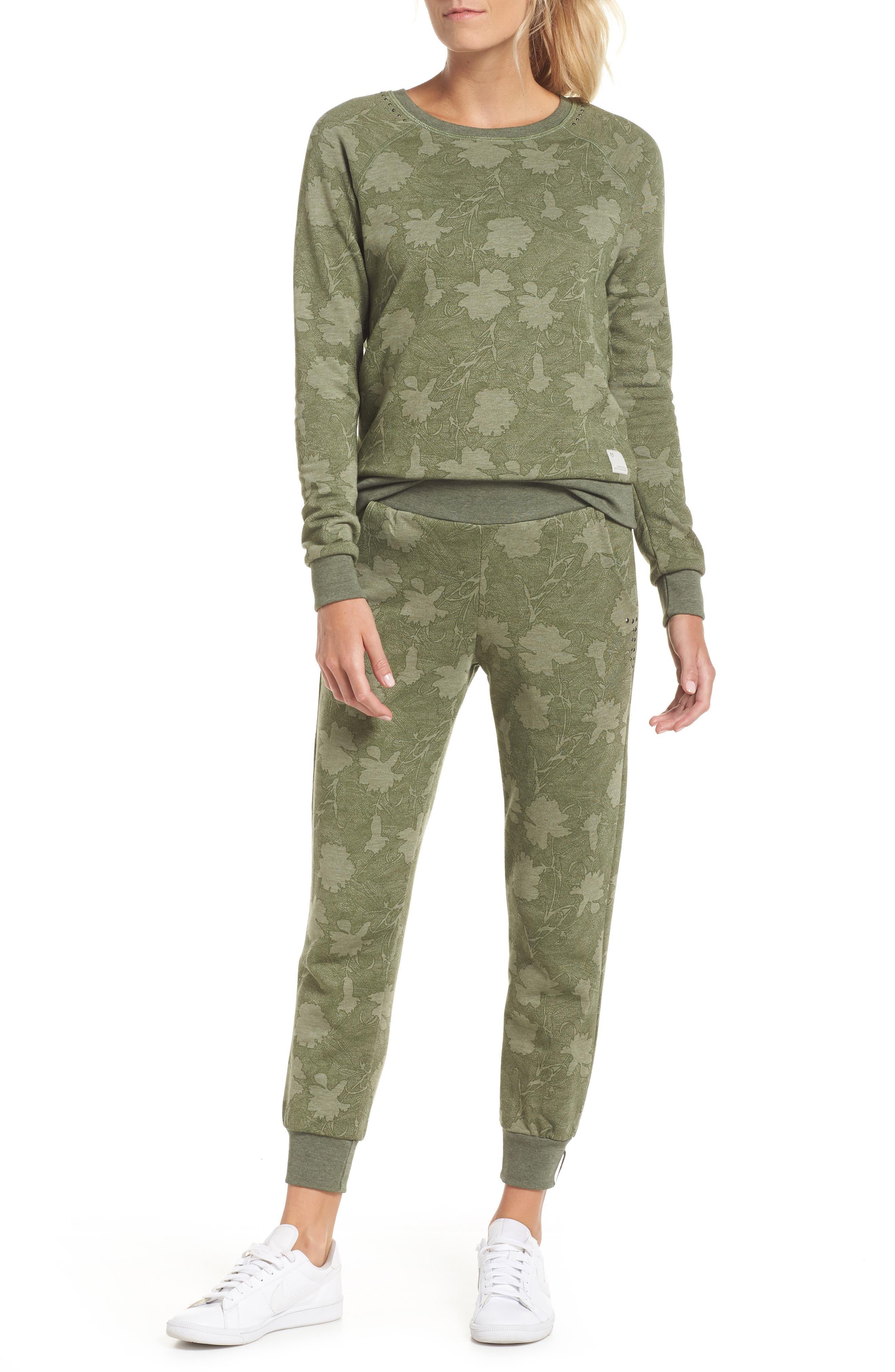 Sleek Leaf Kale Sweatshirt,                             Alternate thumbnail 8, color,                             GREEN