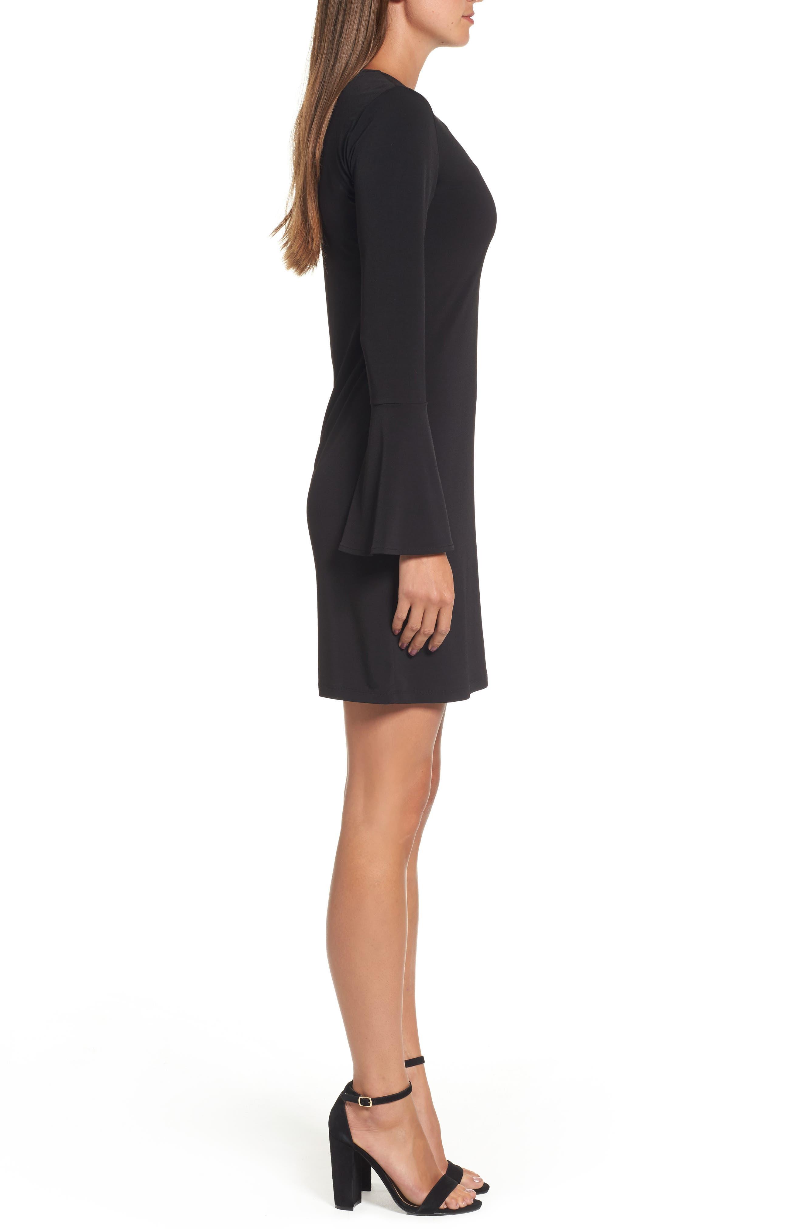 Grommet Lace Shift Dress,                             Alternate thumbnail 3, color,                             001