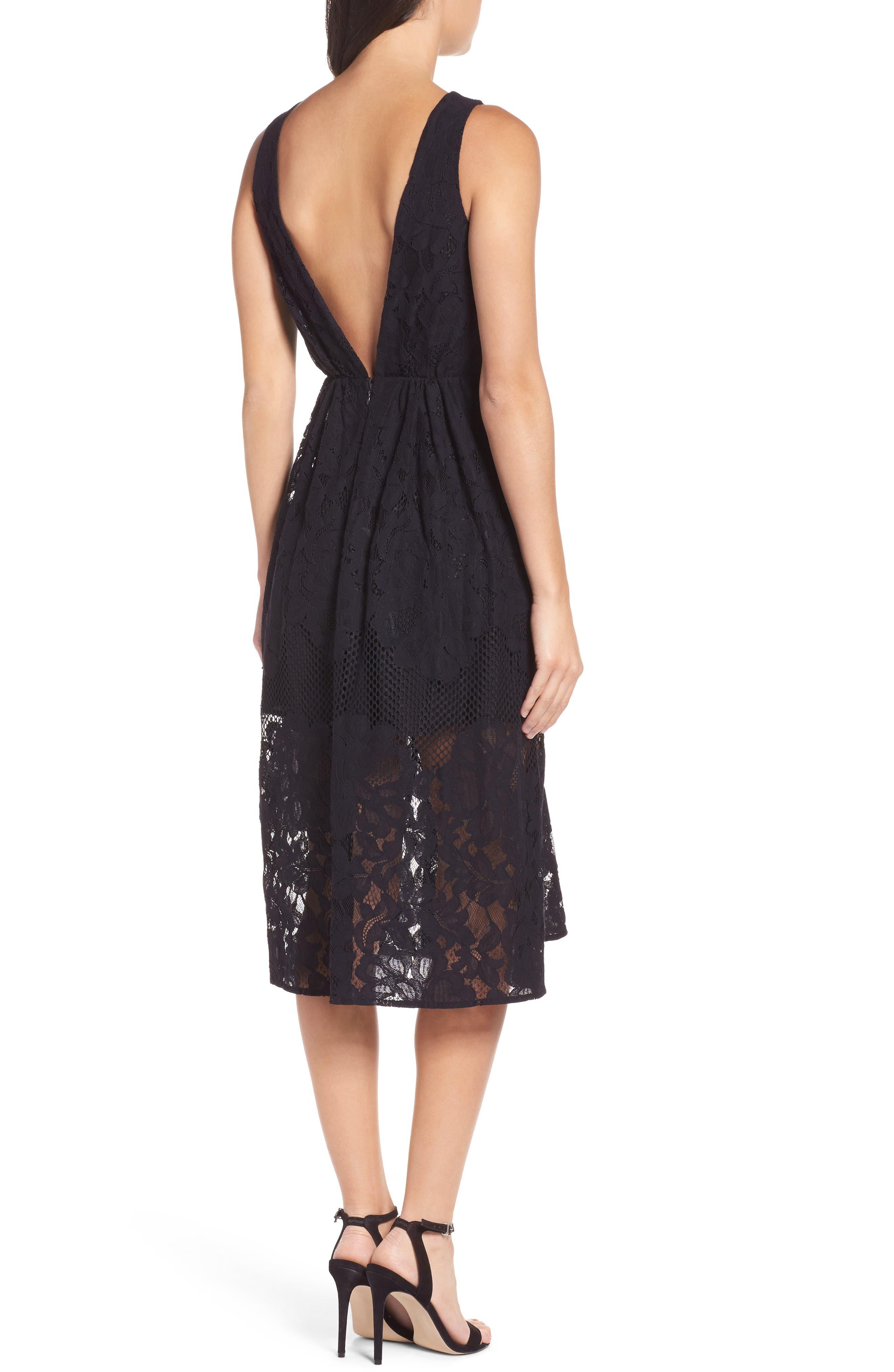 Palais Royal Lace A-Line Dress,                             Alternate thumbnail 2, color,                             001