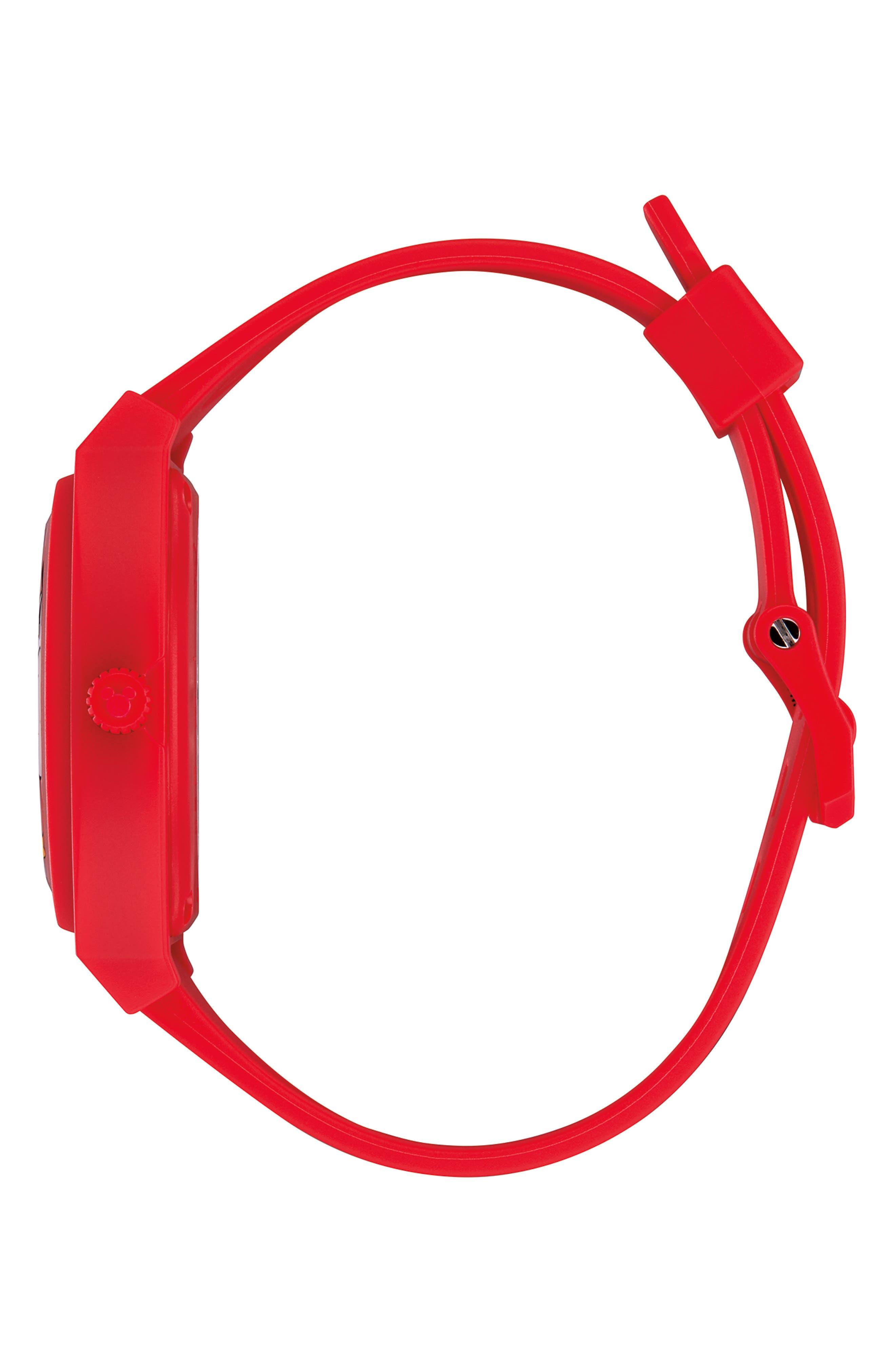 NIXON,                             x Disney Time Teller Strap Watch, 40mm,                             Alternate thumbnail 3, color,                             RED/ BLACK/ RED