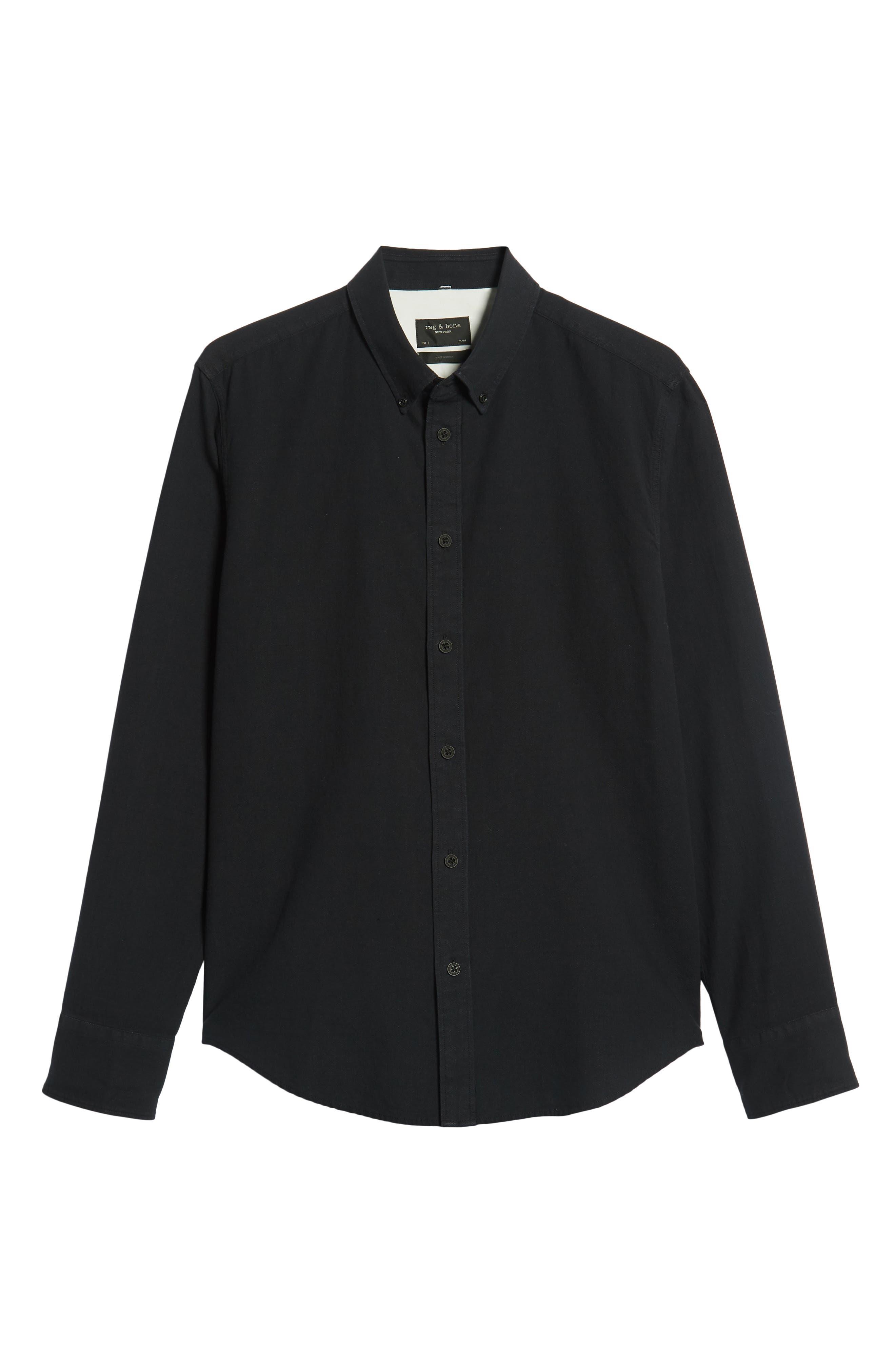 Fit 2 Slim Tomlin Sport Shirt,                             Alternate thumbnail 5, color,                             BLACK/ WHITE