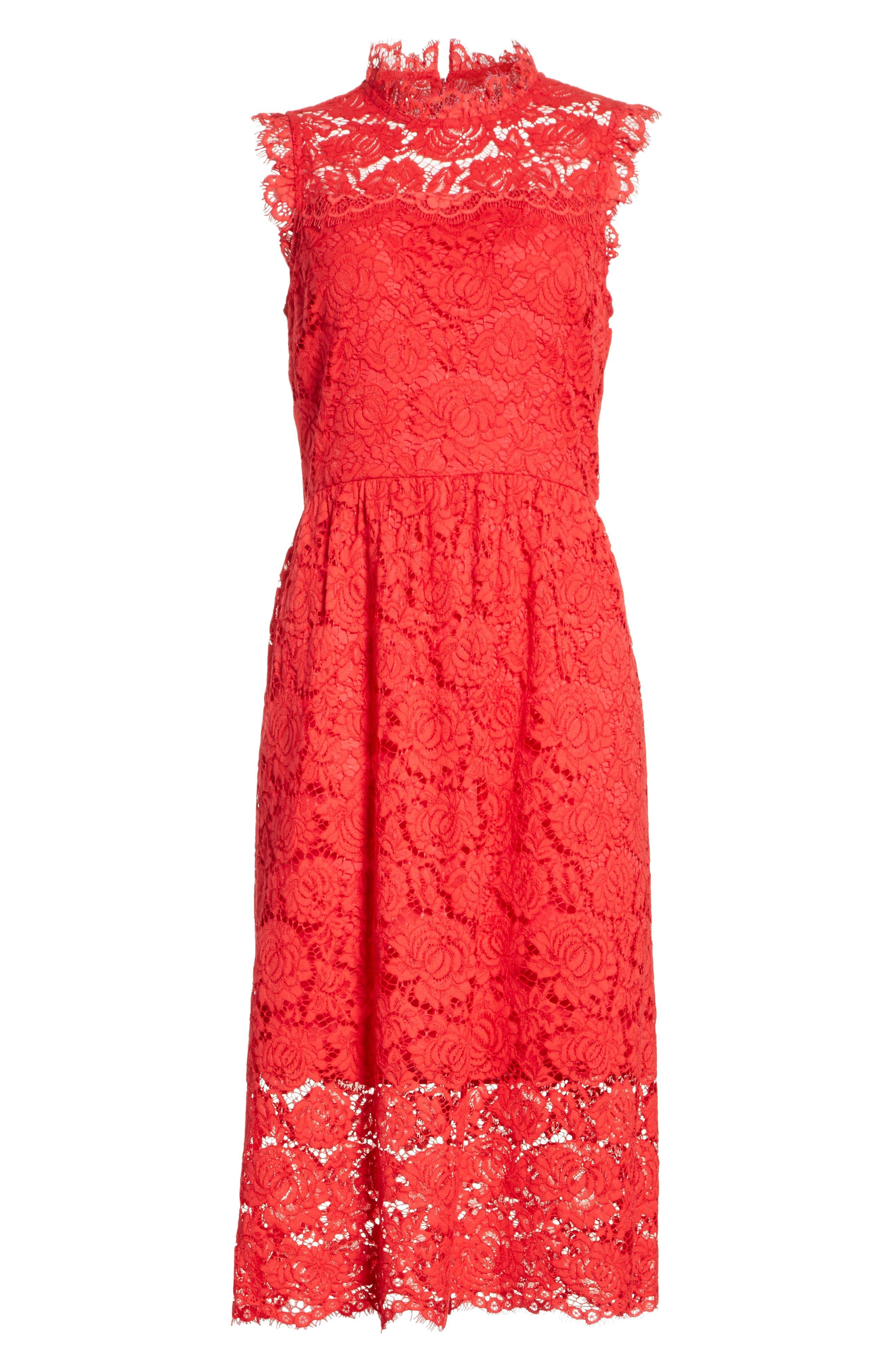kate spade poppy lace dress,                             Alternate thumbnail 6, color,                             622