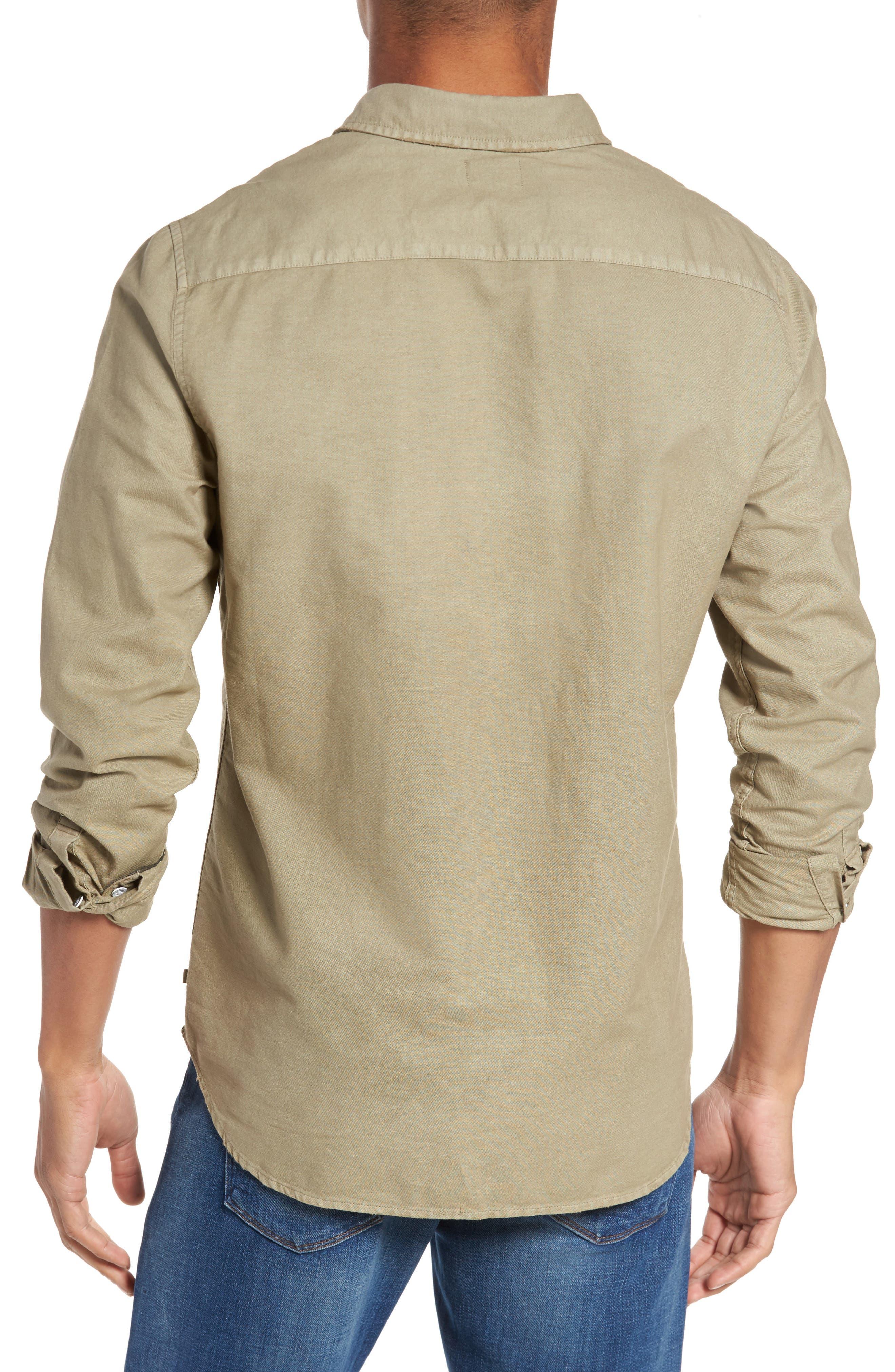 Caleb Slim Fit Twill Sport Shirt,                             Alternate thumbnail 3, color,