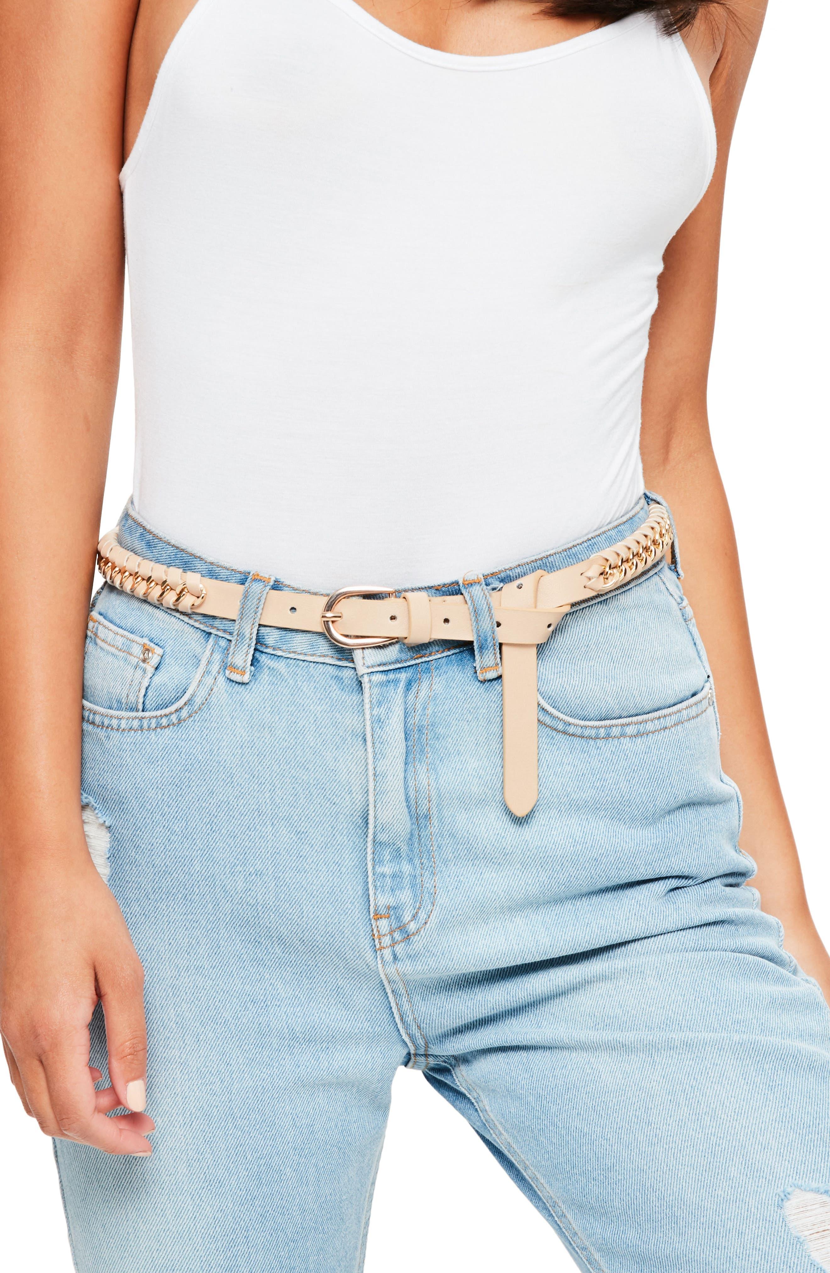 Woven Faux Leather & Chain Belt,                             Main thumbnail 1, color,                             250
