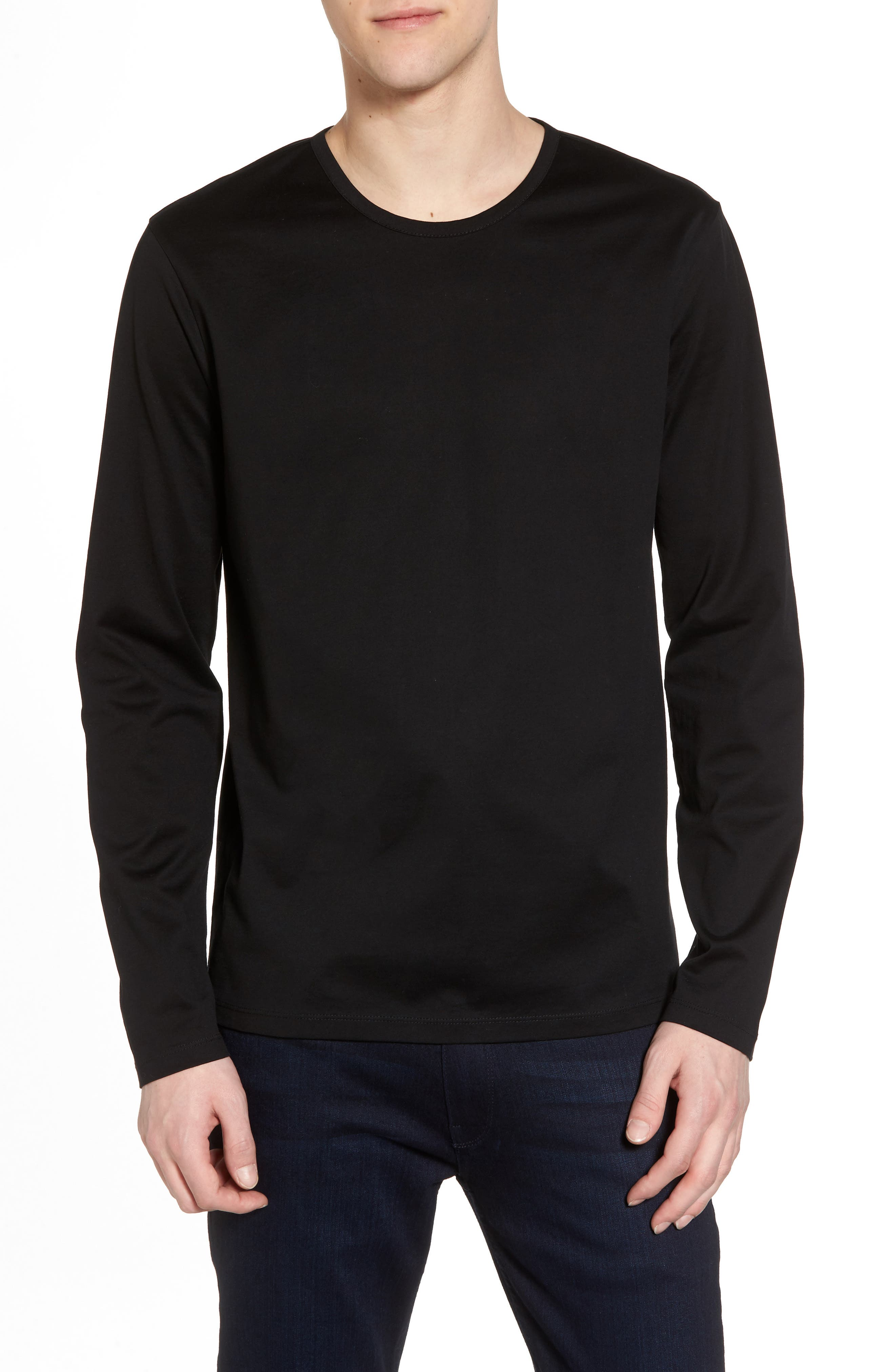 Mercerized Cotton Crewneck Long Sleeve T-Shirt,                         Main,                         color, 001