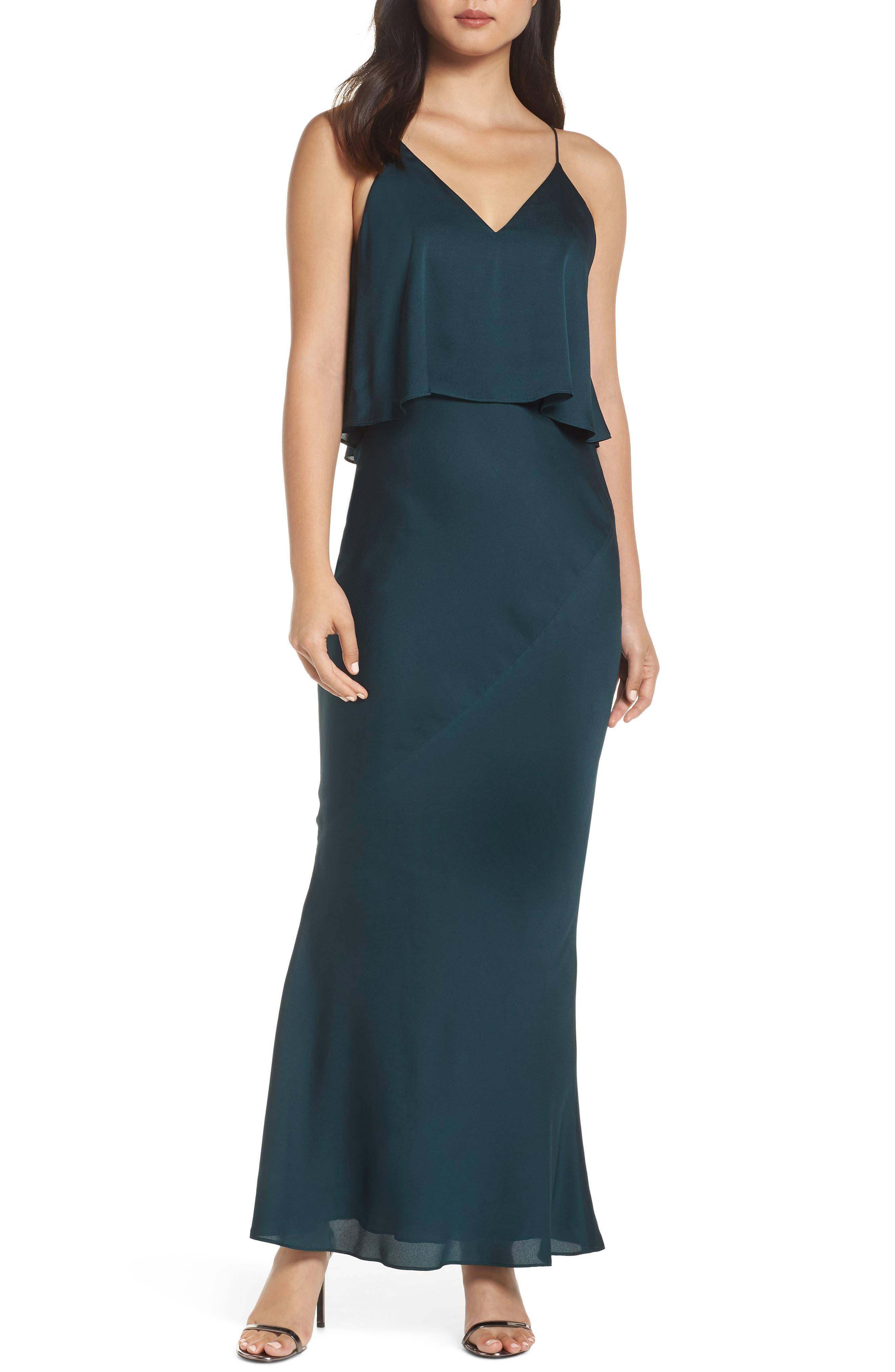 SHONA JOY Luxe Frilled Bodice Bias Cut Gown in Emerald