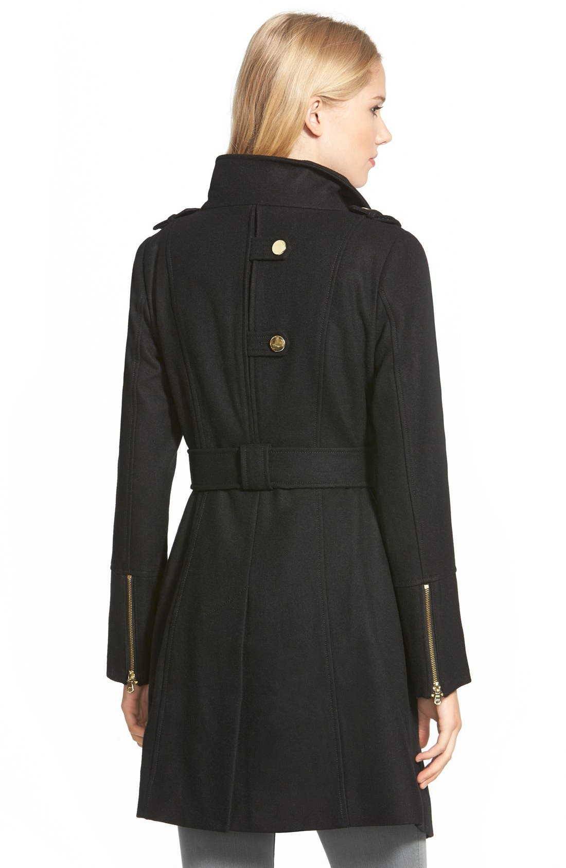 GUESS,                             Belted Asymmetrical Wool Blend Trench Coat,                             Alternate thumbnail 3, color,                             001