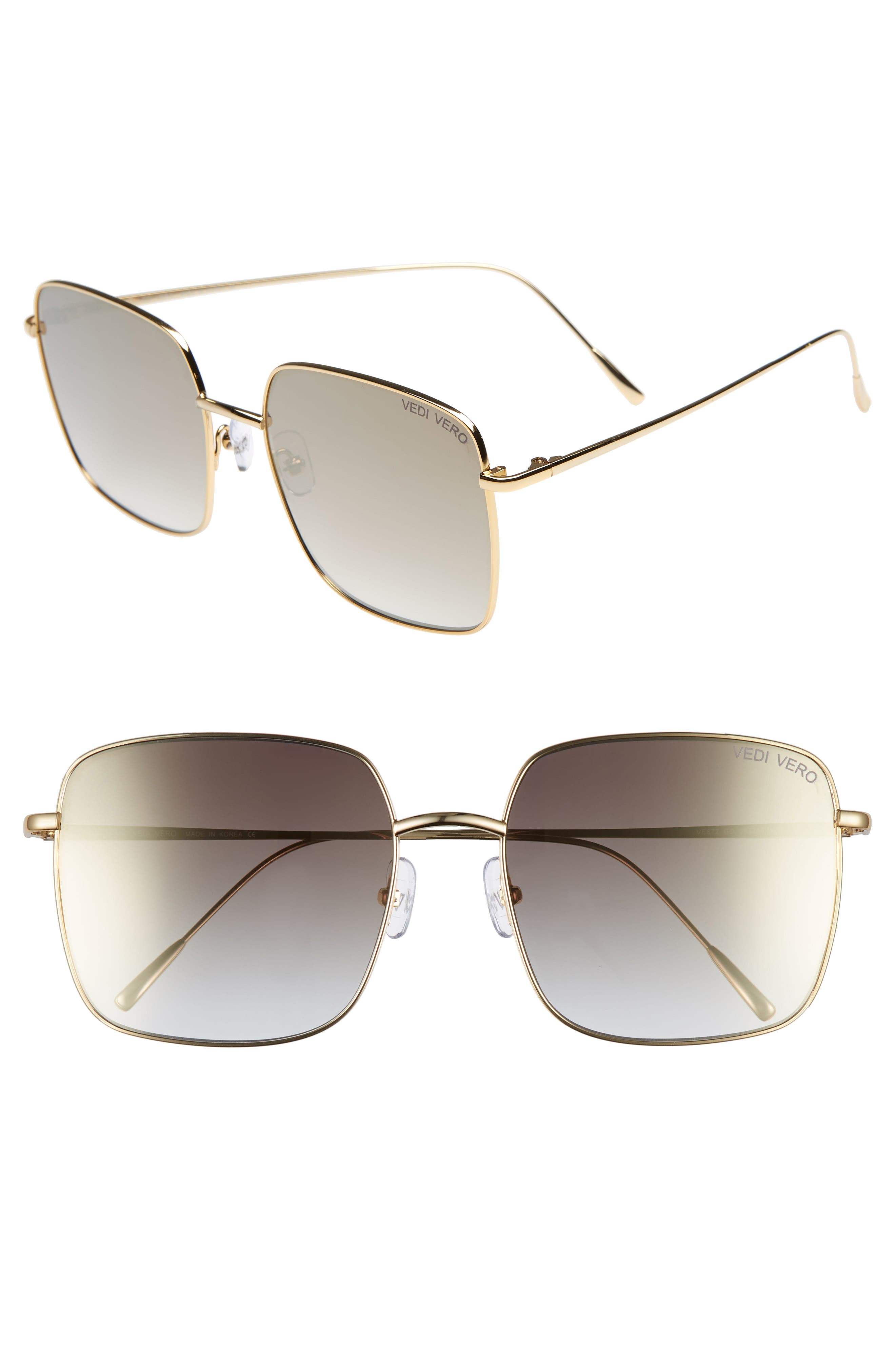 VEDI VERO 58Mm Square Sunglasses - Shiny Gold