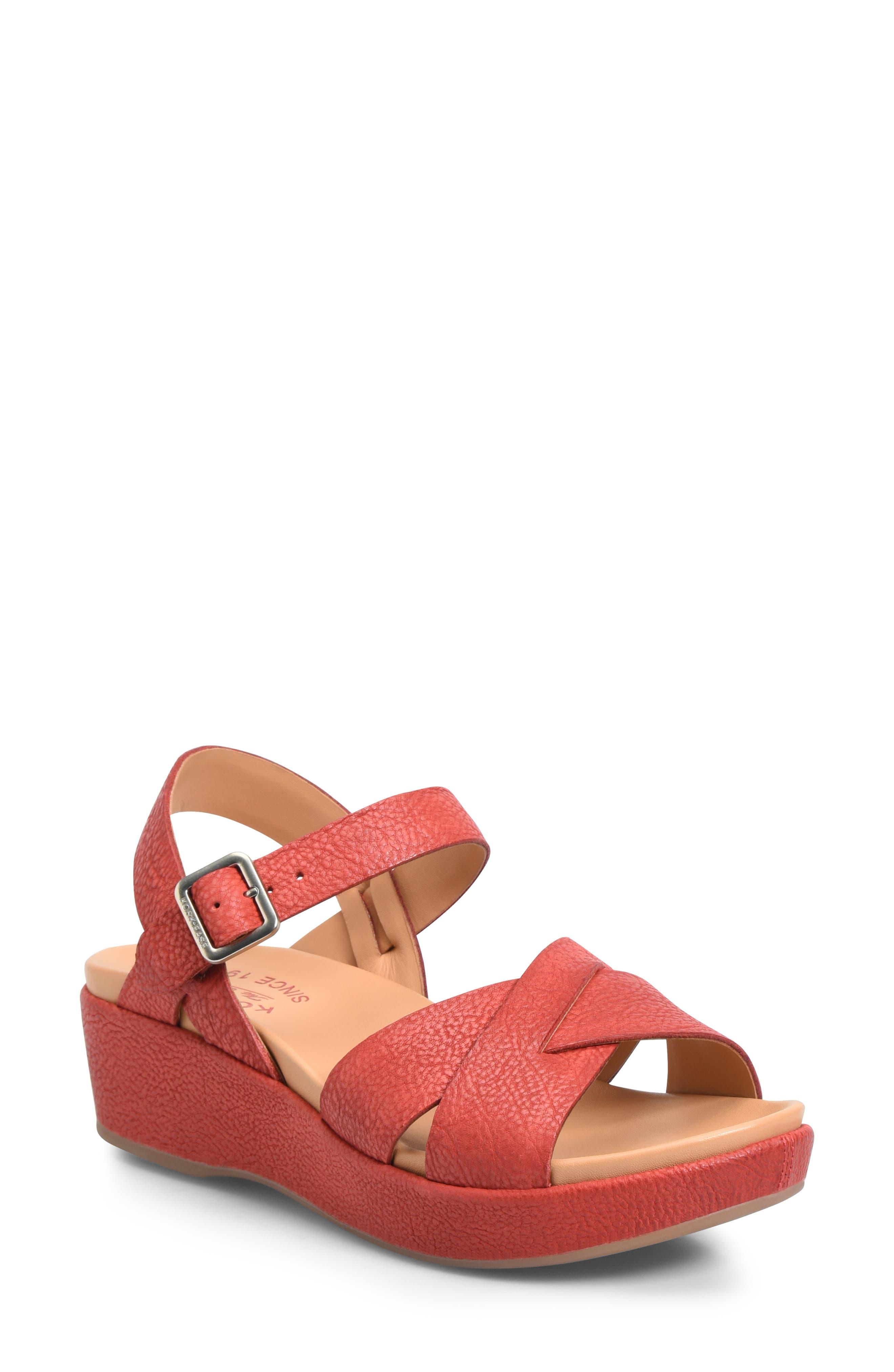 Vintage Style Shoes, Vintage Inspired Shoes Womens Kork-Ease Myrna 2.0 Cork Wedge Sandal Size 11 M - Red $139.95 AT vintagedancer.com