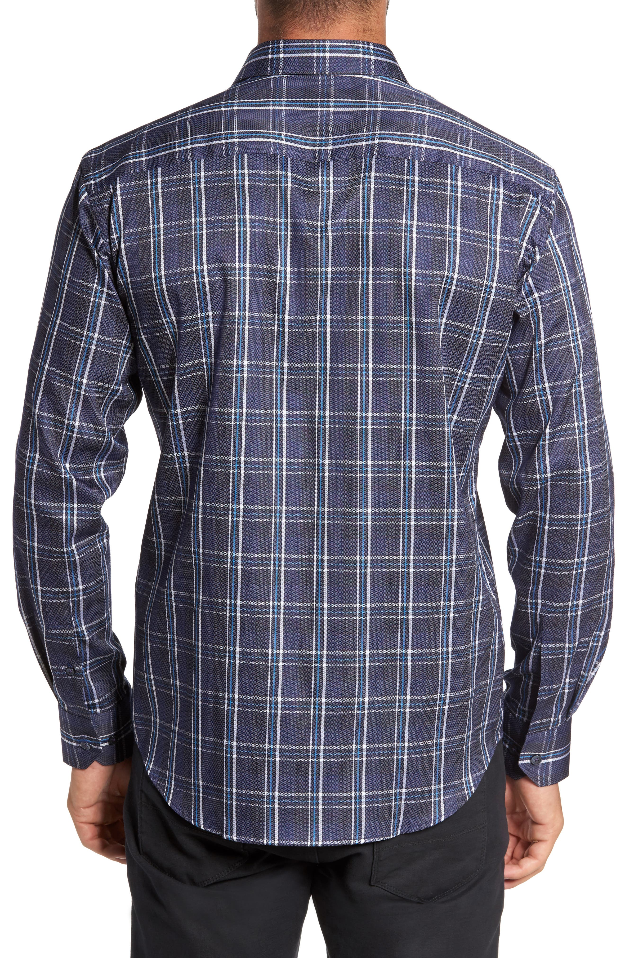 Trim Fit Diamond Weave Windowpane Sport Shirt,                             Alternate thumbnail 2, color,                             411