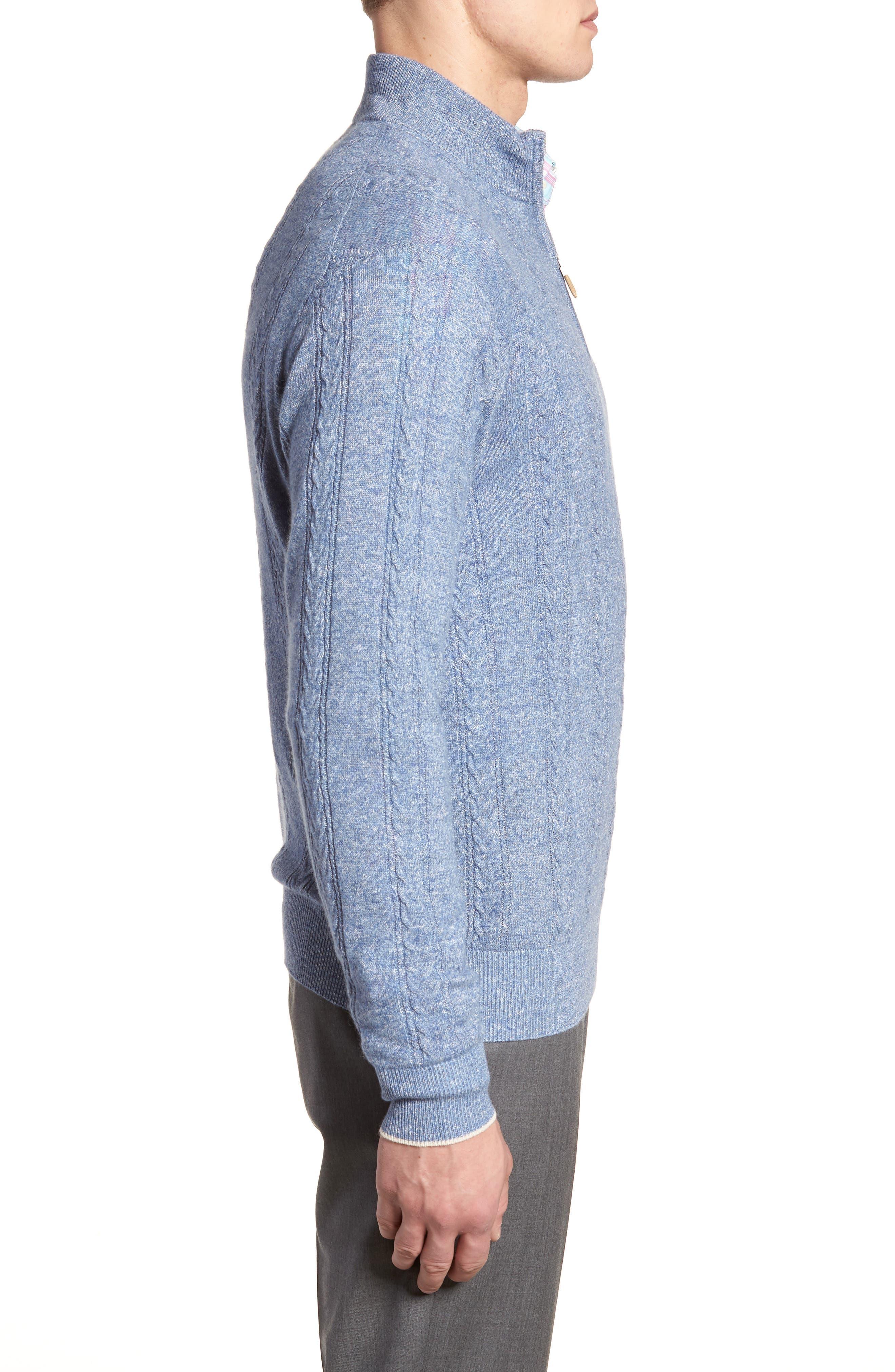 Crown Fleece Cashmere & Linen Quarter Zip Sweater,                             Alternate thumbnail 3, color,                             418