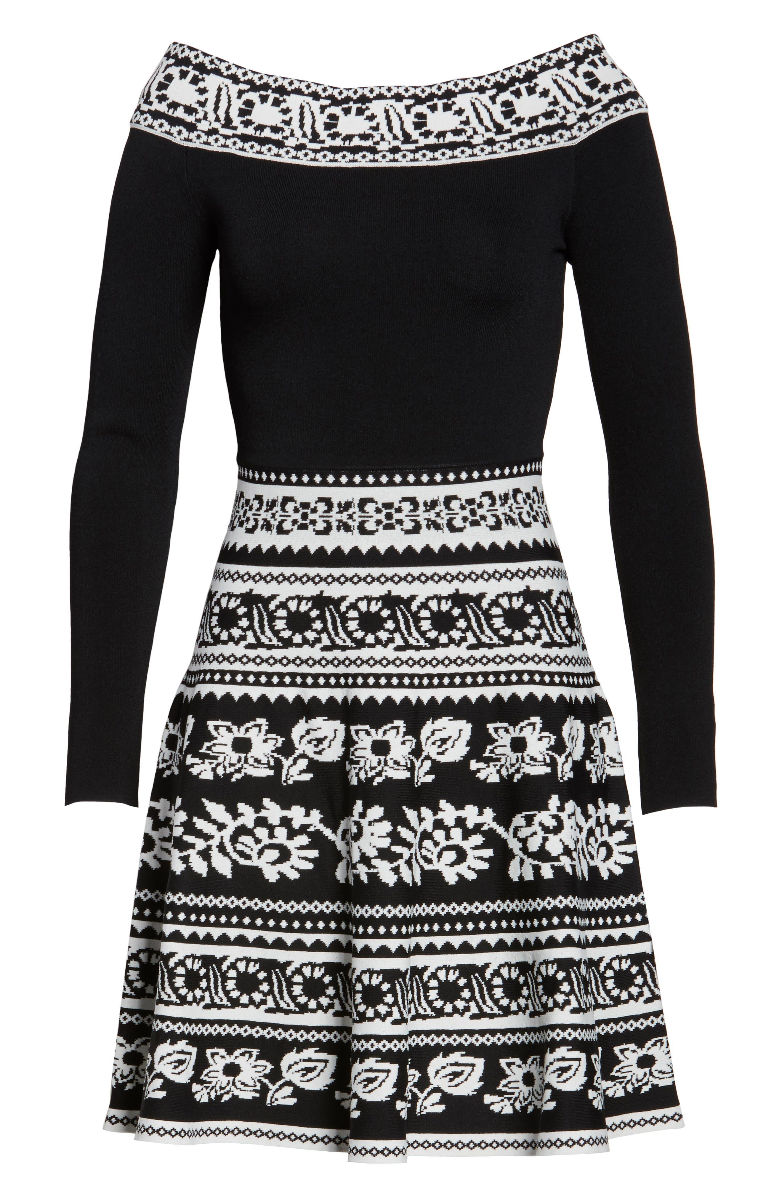 Pattern Off the Shoulder A-Line Knit Dress,                             Alternate thumbnail 6, color,                             012
