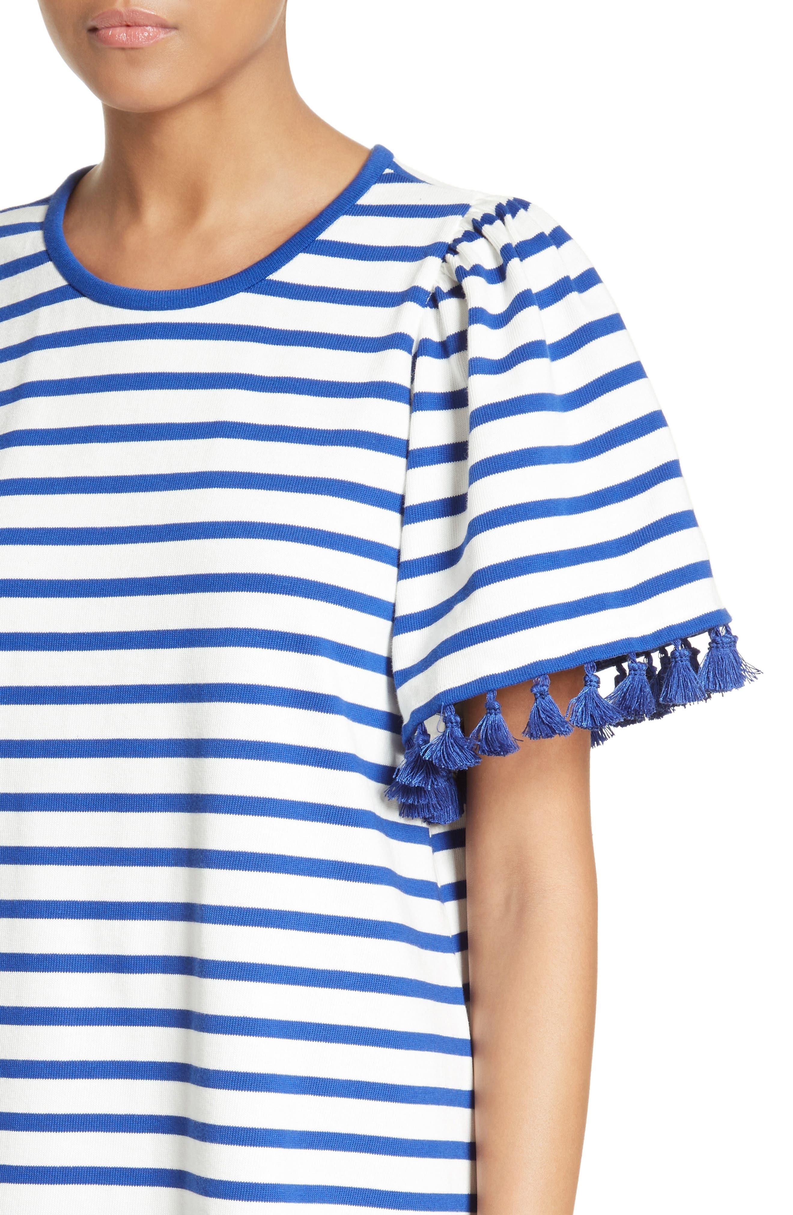 stripe flutter sleeve dress,                             Alternate thumbnail 4, color,                             137