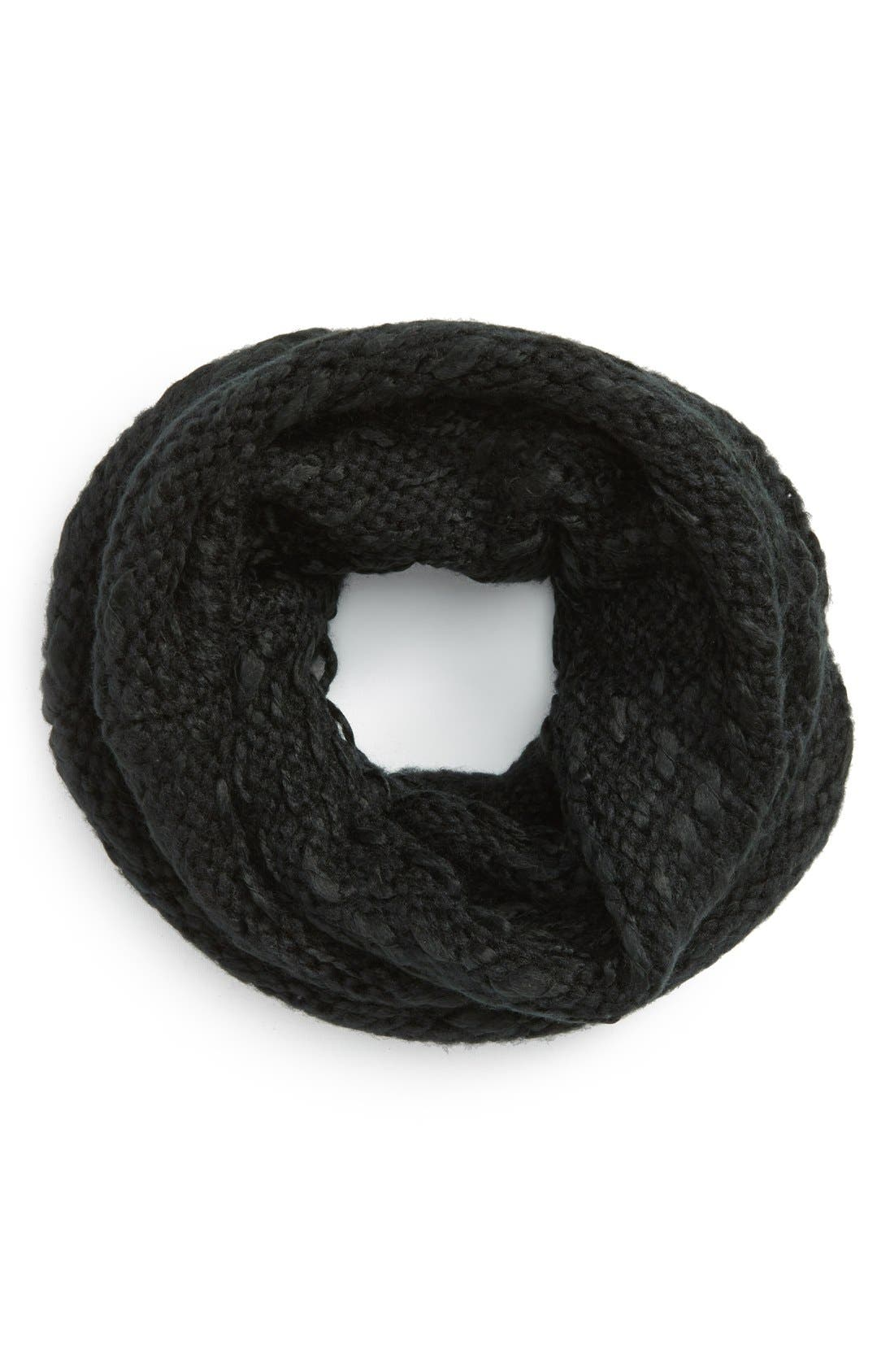 'Thick Thin' Knit Infinity Scarf,                             Main thumbnail 1, color,                             001