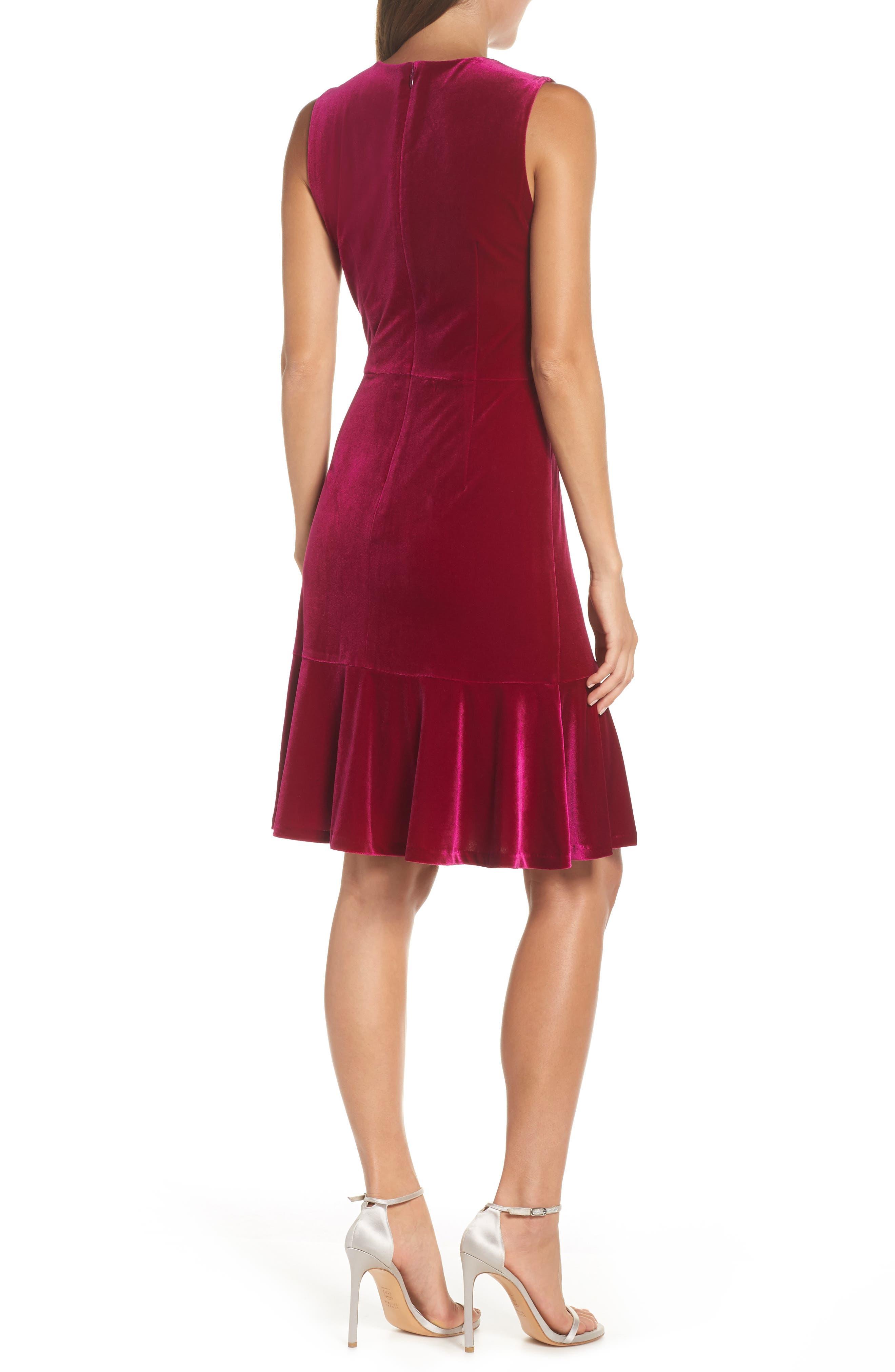Draped Velvet Sheath Dress,                             Alternate thumbnail 2, color,                             FUCHSIA