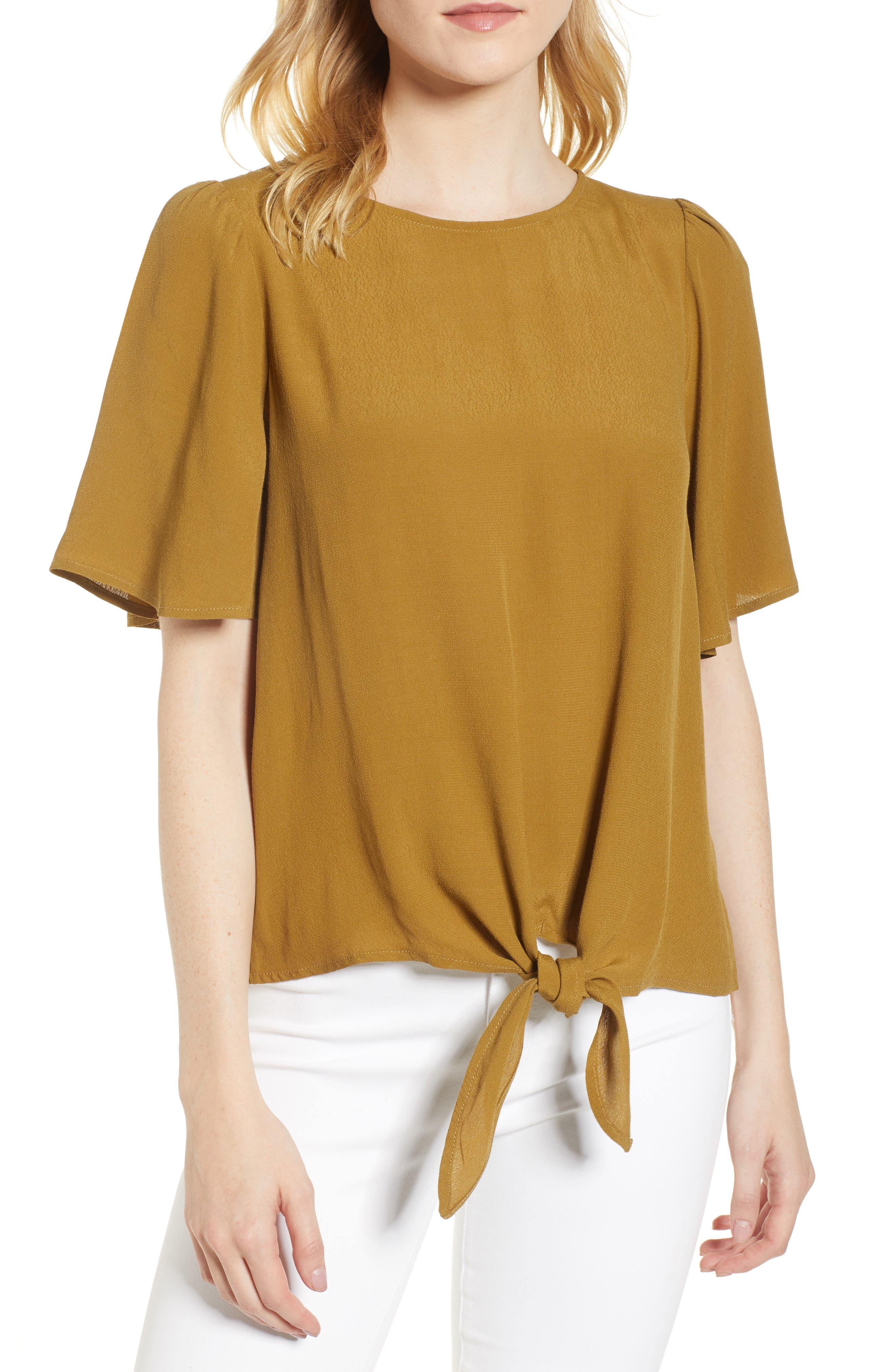 Ruffle Tie Front Top,                             Main thumbnail 2, color,