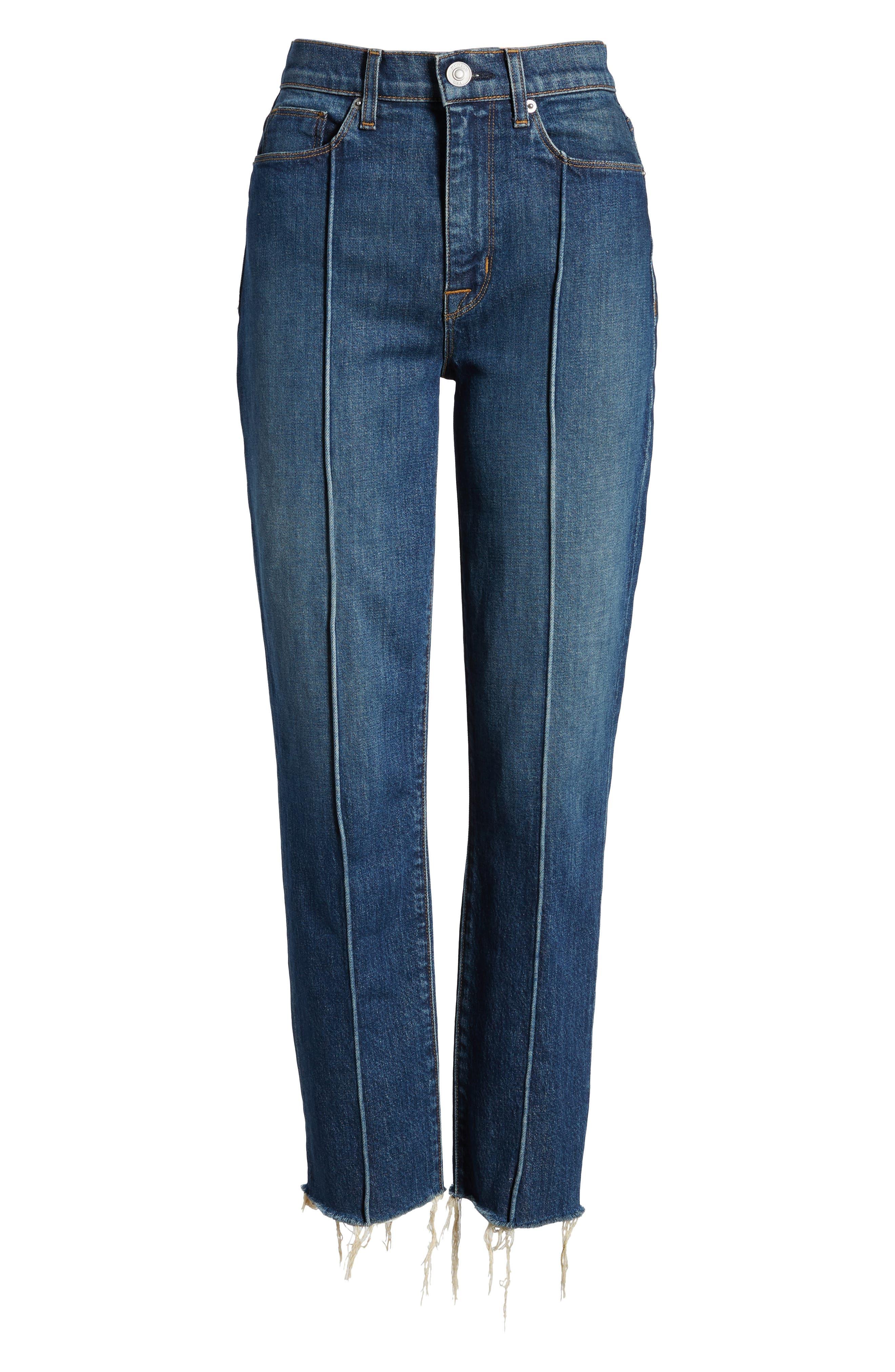 Zoeey High Waist Crop Straight Leg Jeans,                             Alternate thumbnail 7, color,                             402