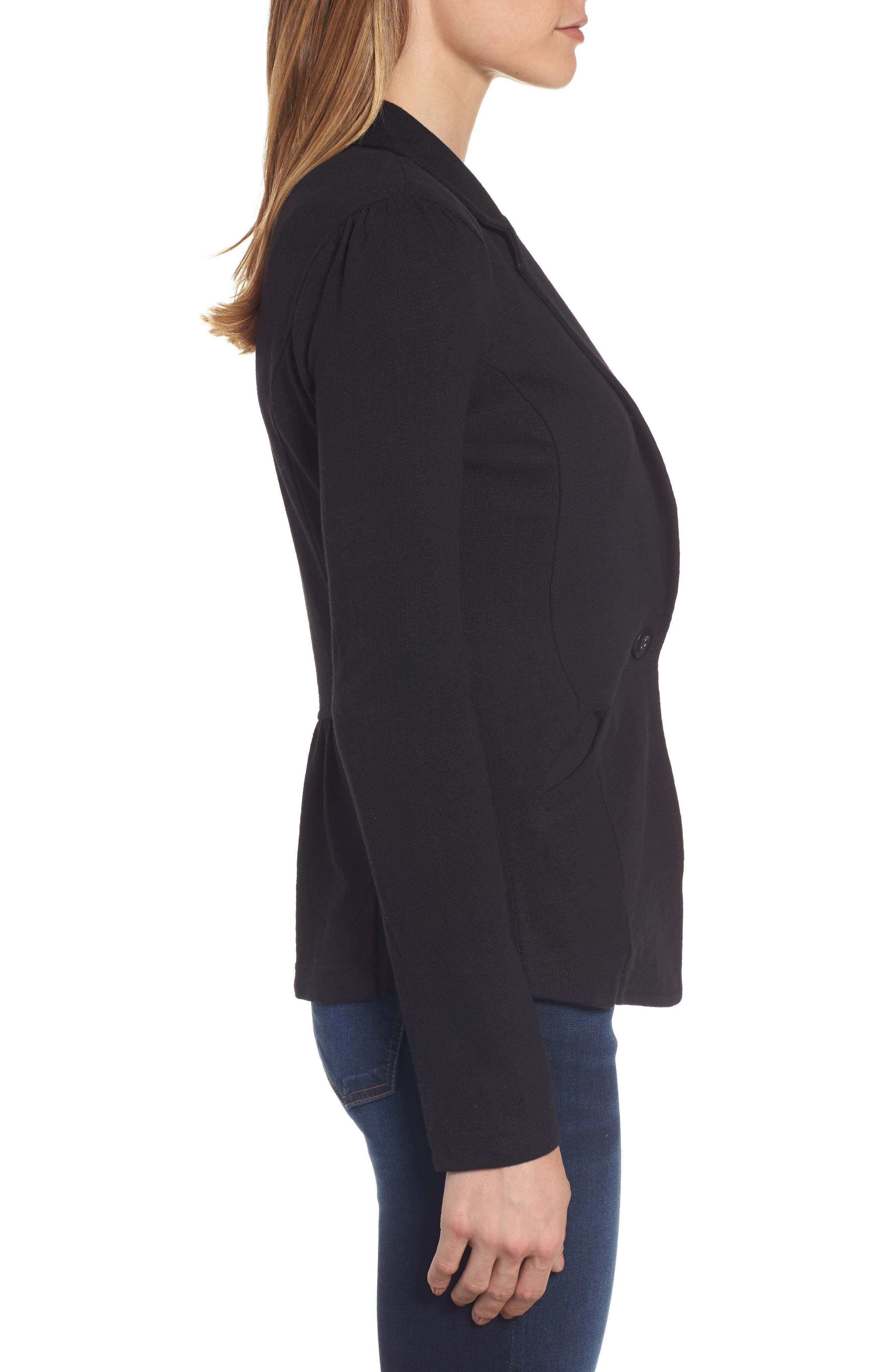 CASLON<SUP>®</SUP>,                             Knit One-Button Blazer,                             Alternate thumbnail 3, color,                             BLACK