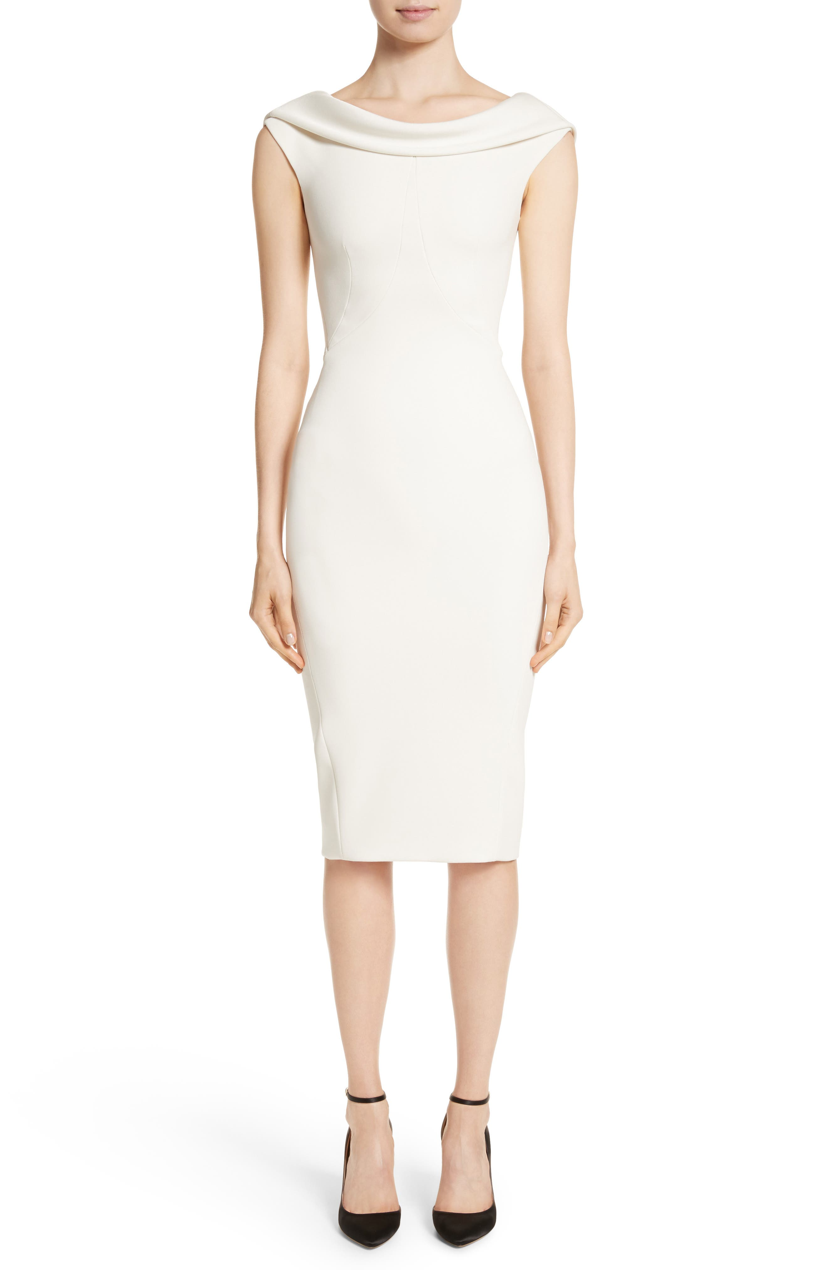 Bonded Crepe Cowl Neck Sheath Dress,                         Main,                         color, IVORY