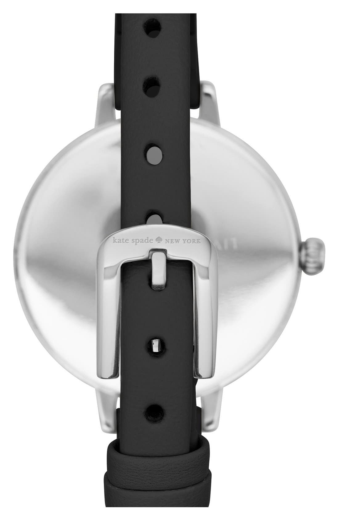 KATE SPADE NEW YORK,                             'metro - bow' leather strap watch, 34mm,                             Alternate thumbnail 3, color,                             001