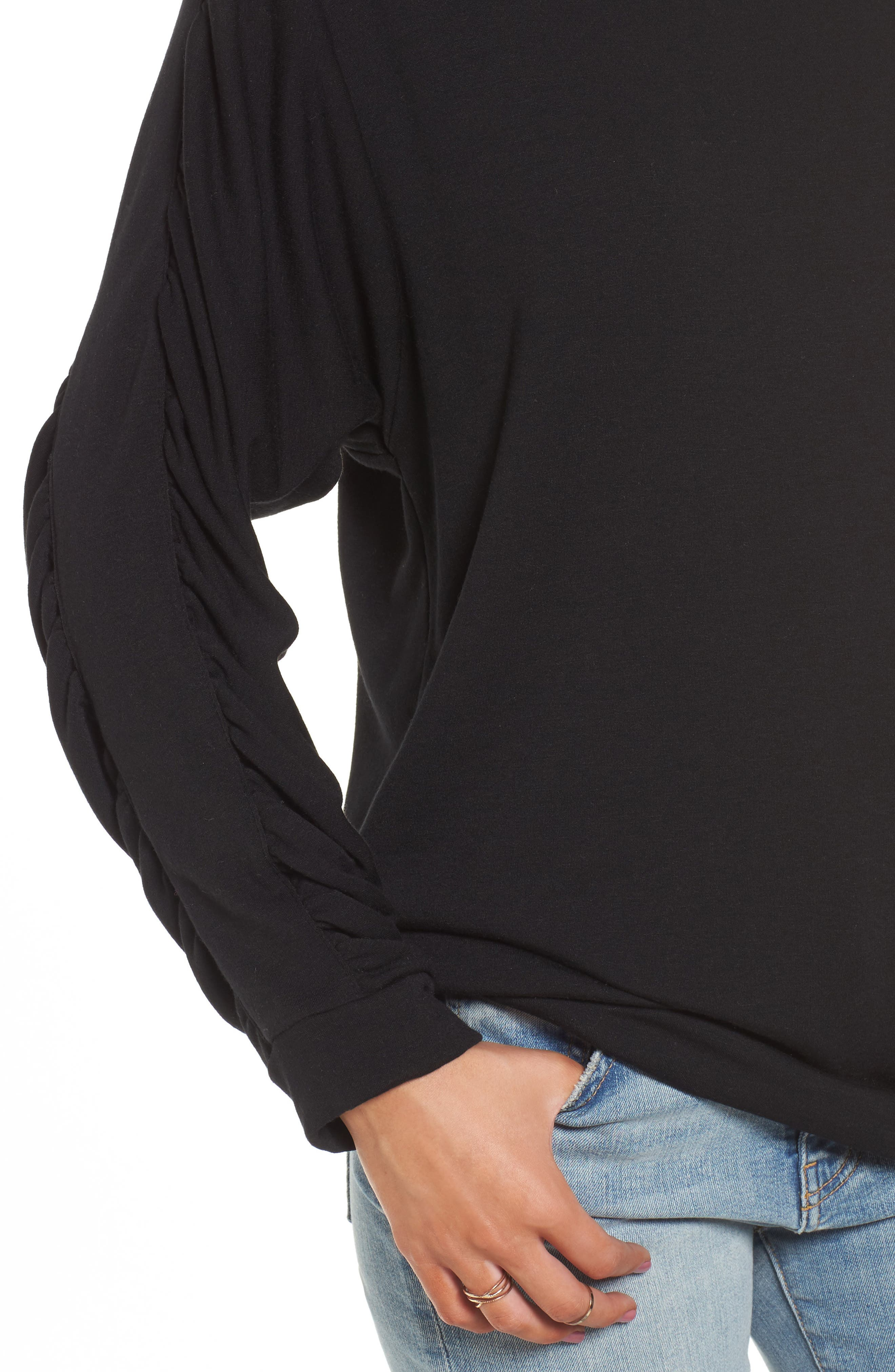Ruched Sleeve Sweatshirt,                             Alternate thumbnail 4, color,                             001