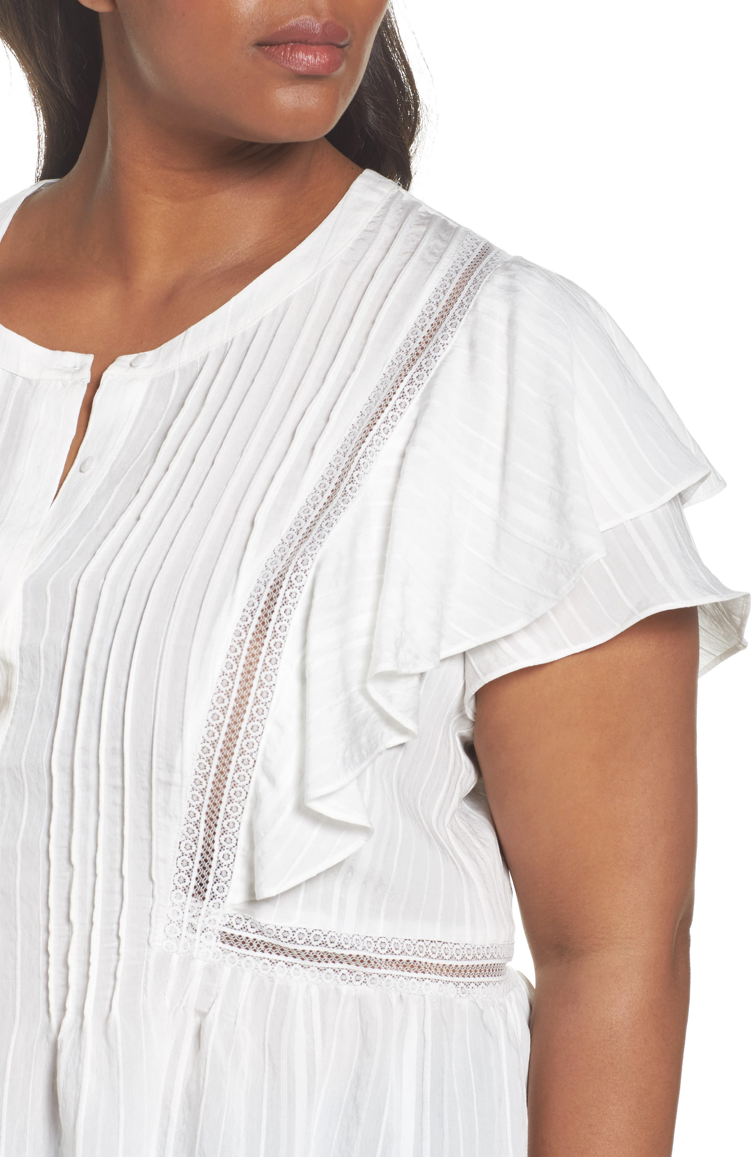 Lace Trim Pintuck Pleated Top,                             Alternate thumbnail 12, color,