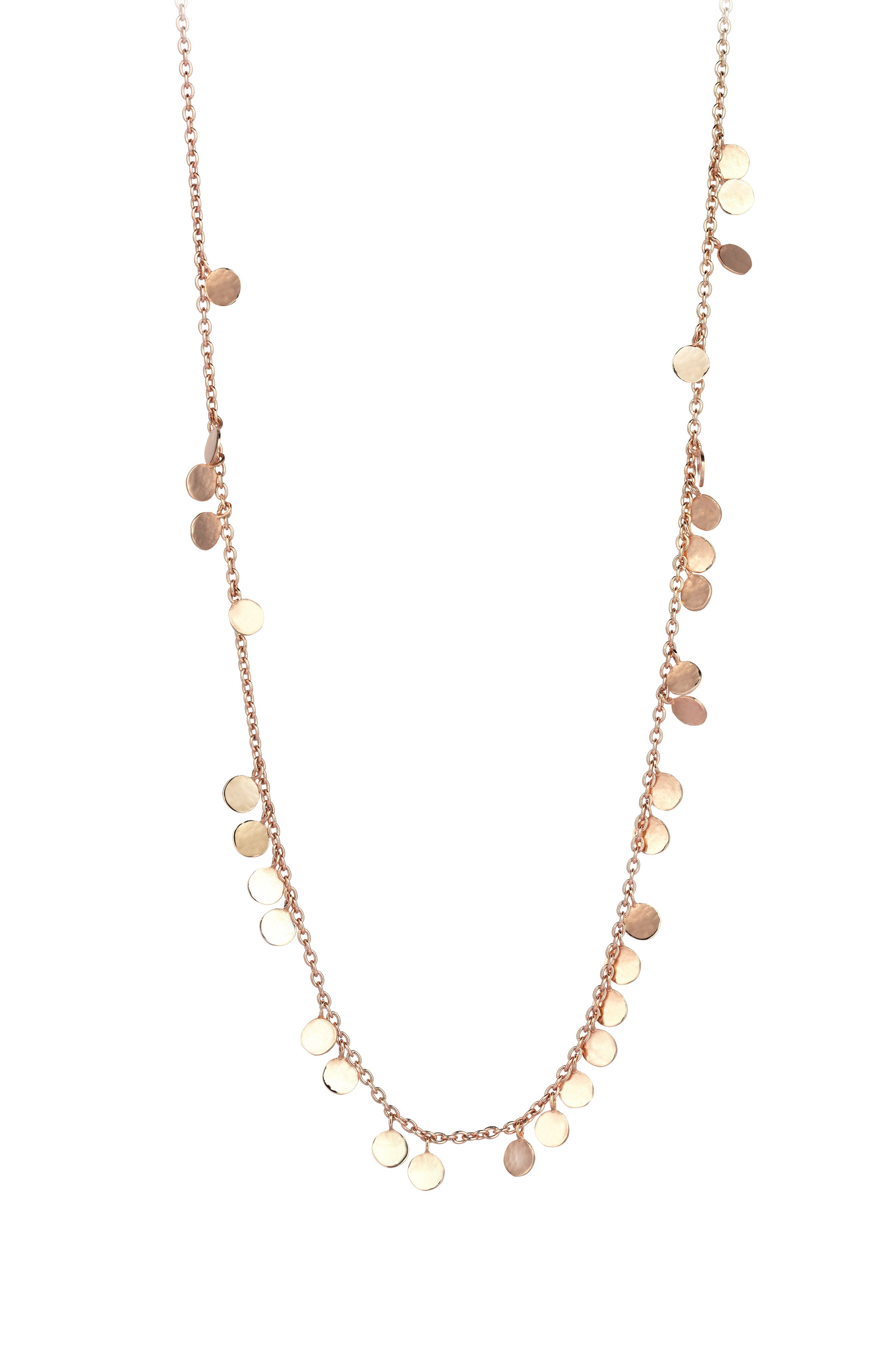 Dangling Circles Pendant Necklace,                             Main thumbnail 1, color,                             ROSE GOLD