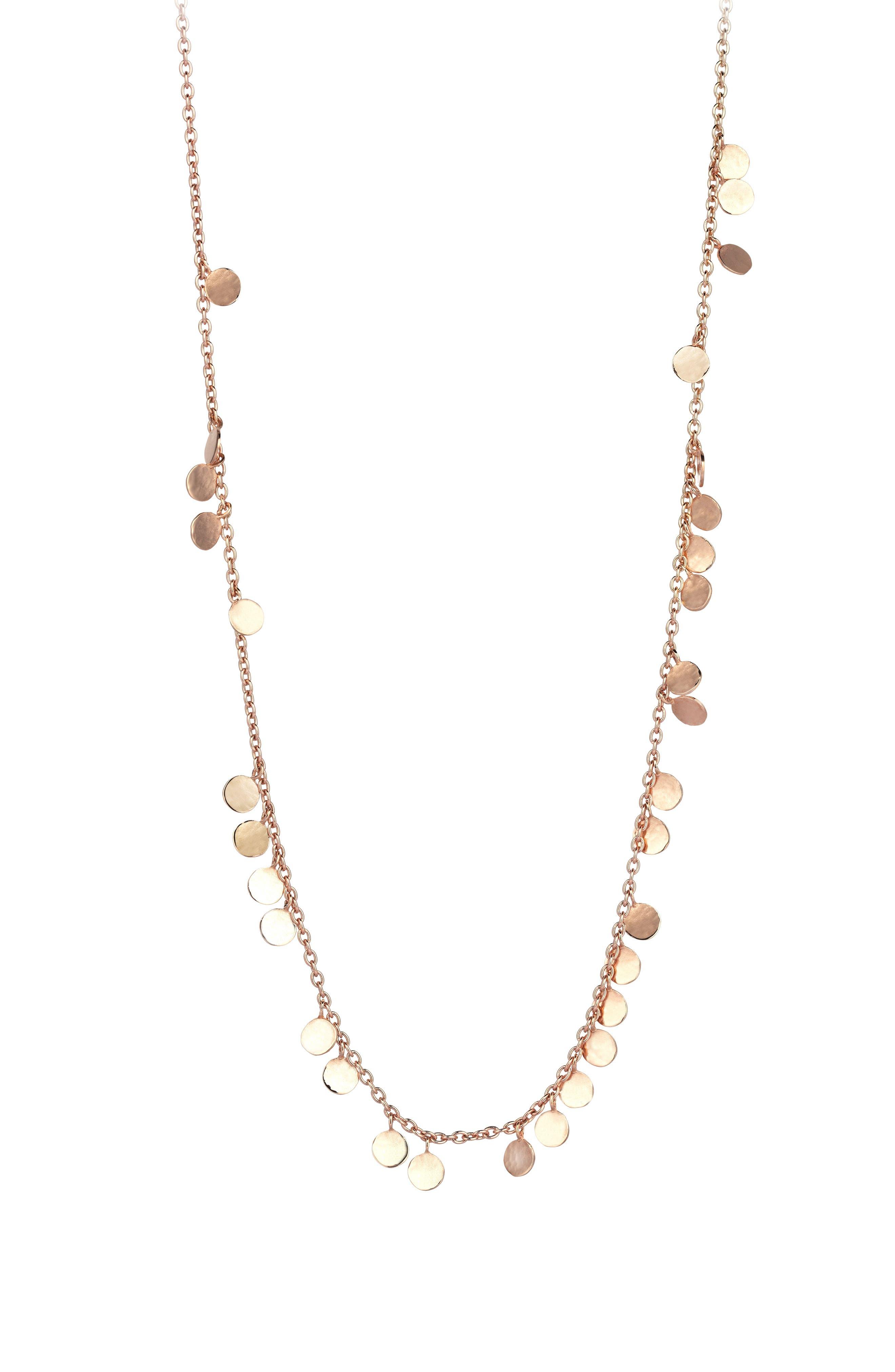 Dangling Circles Pendant Necklace,                             Main thumbnail 1, color,                             ROSE GOLD