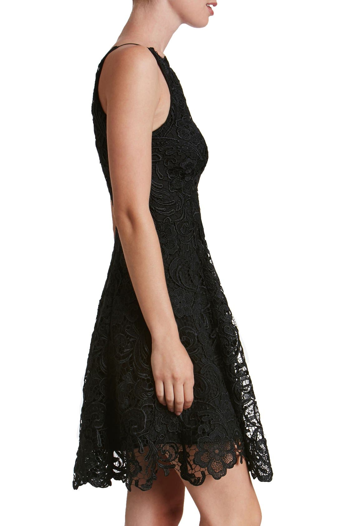 'Hayden' Lace Fit & Flare Dress,                             Alternate thumbnail 7, color,