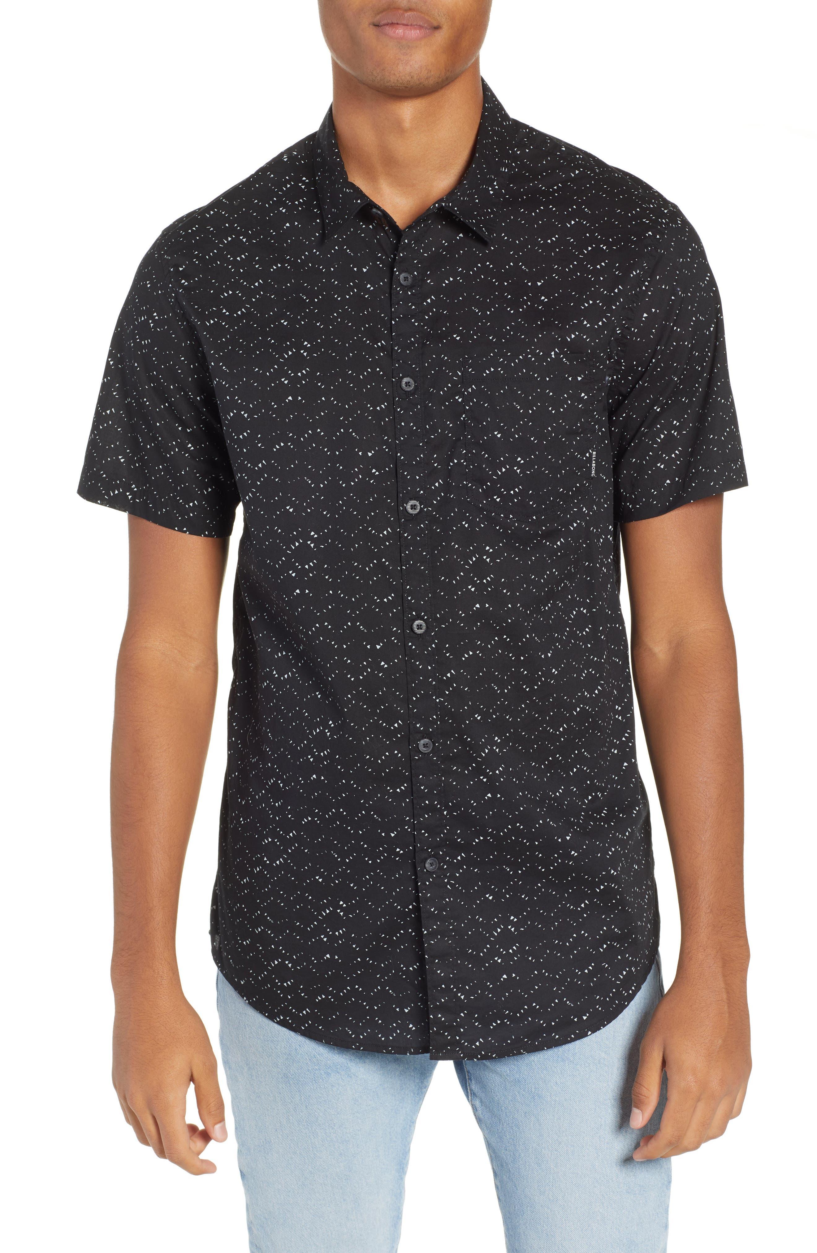 Sundays Print Camp Shirt,                             Main thumbnail 1, color,                             BLACK