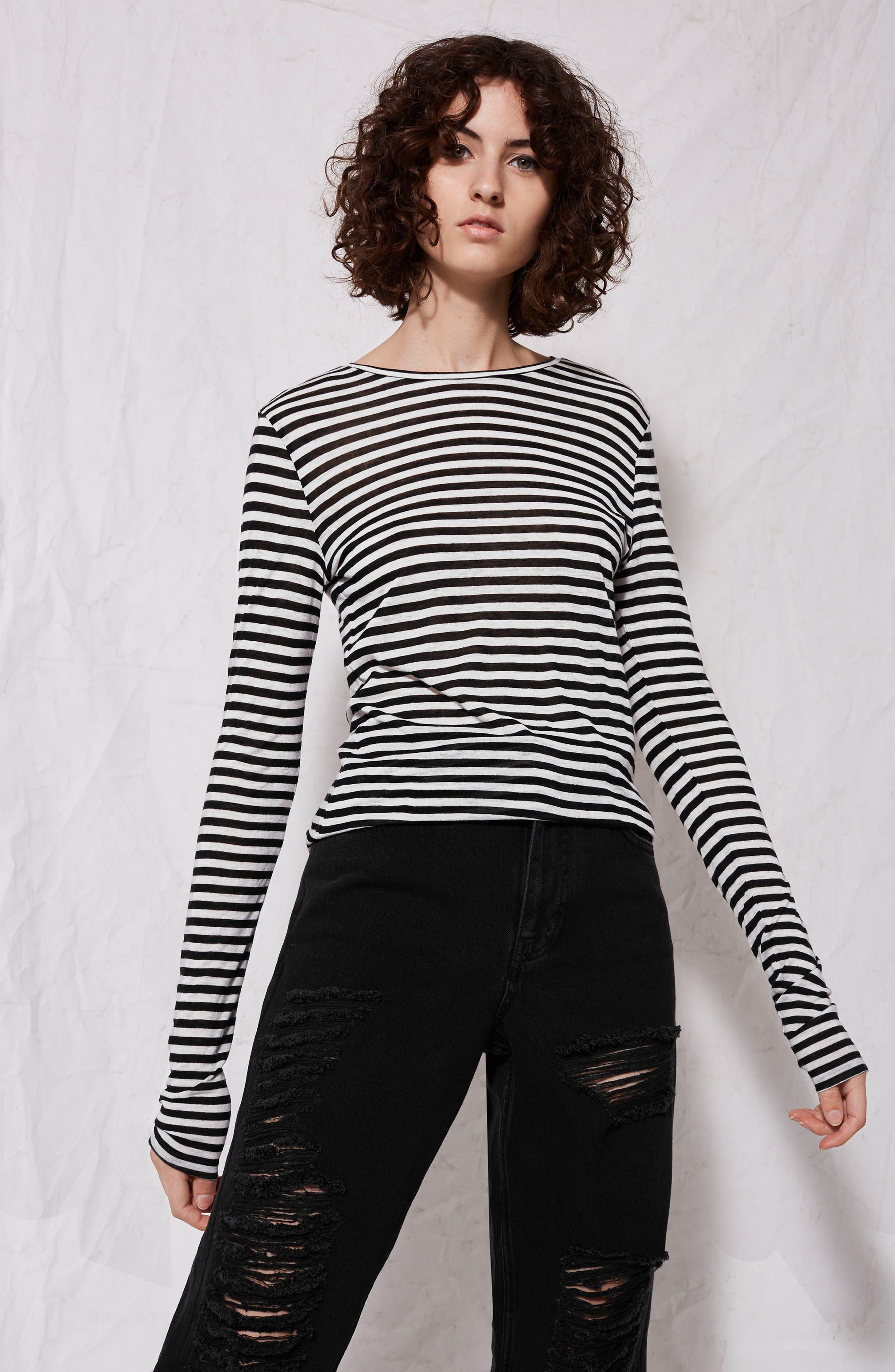 Topshop Stripe Slub Shirt,                             Alternate thumbnail 3, color,                             001