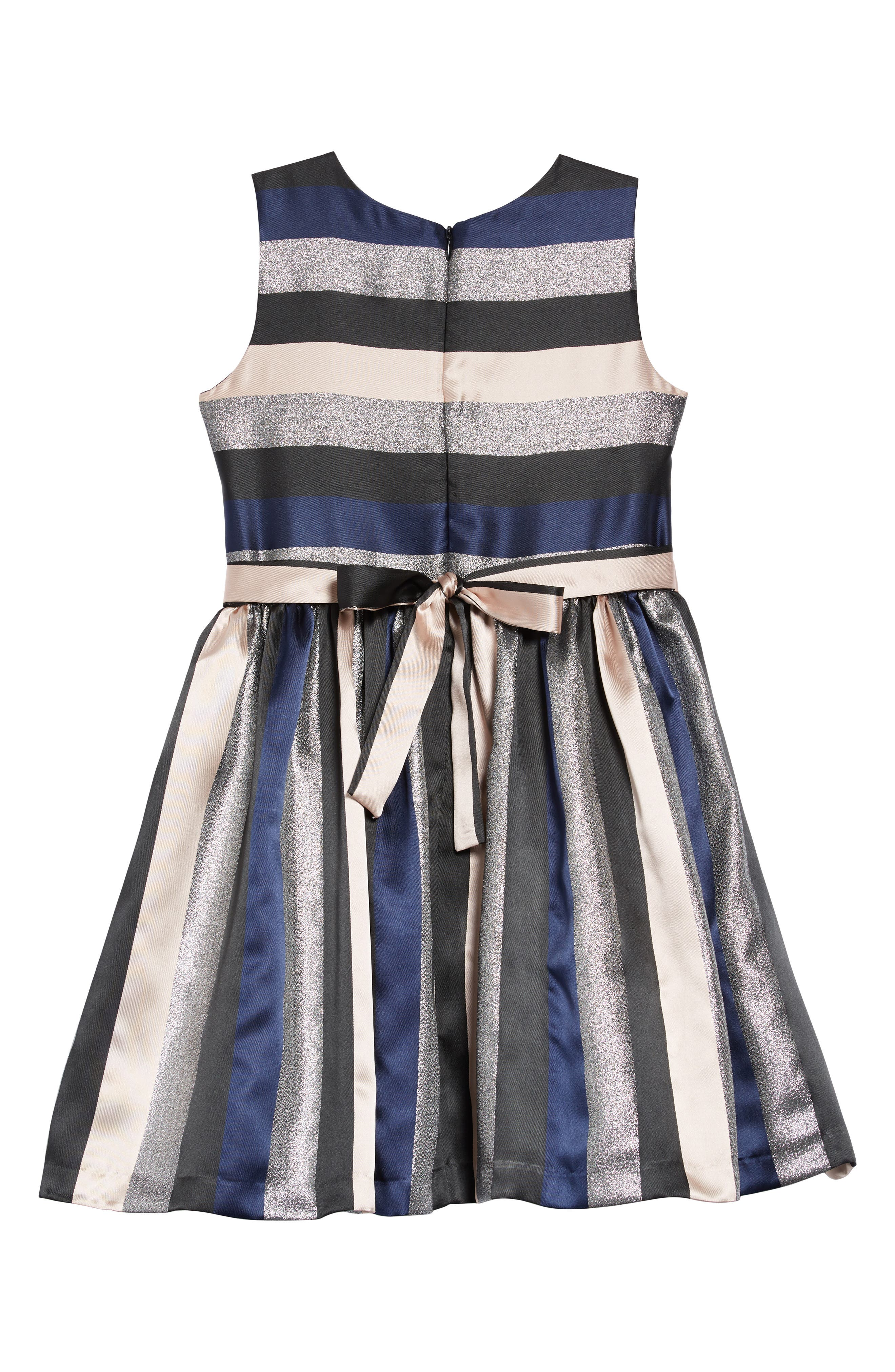 Stripe Dress,                             Alternate thumbnail 2, color,                             NAVY/ SILVER/ PINK