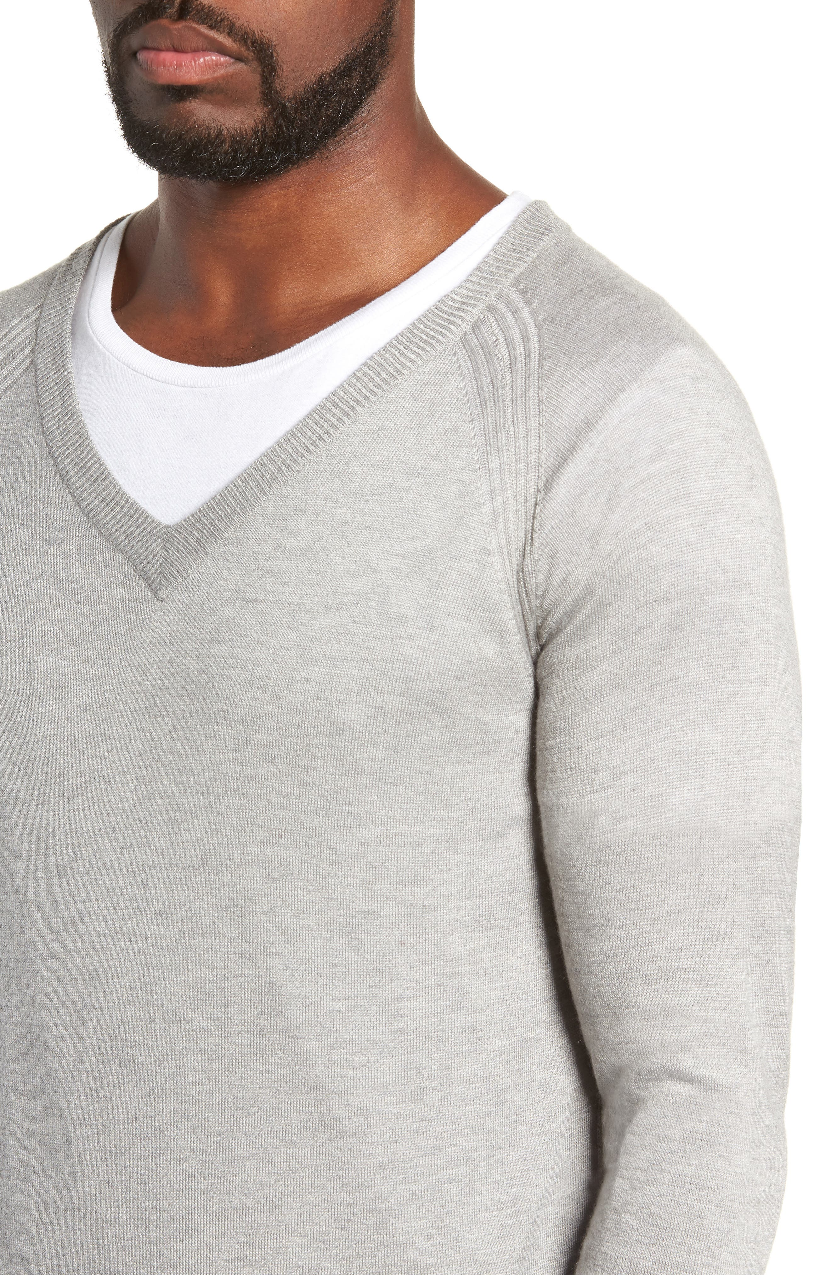 Salinas Cash V-Neck Sweater,                             Alternate thumbnail 4, color,                             GREY HEATHER