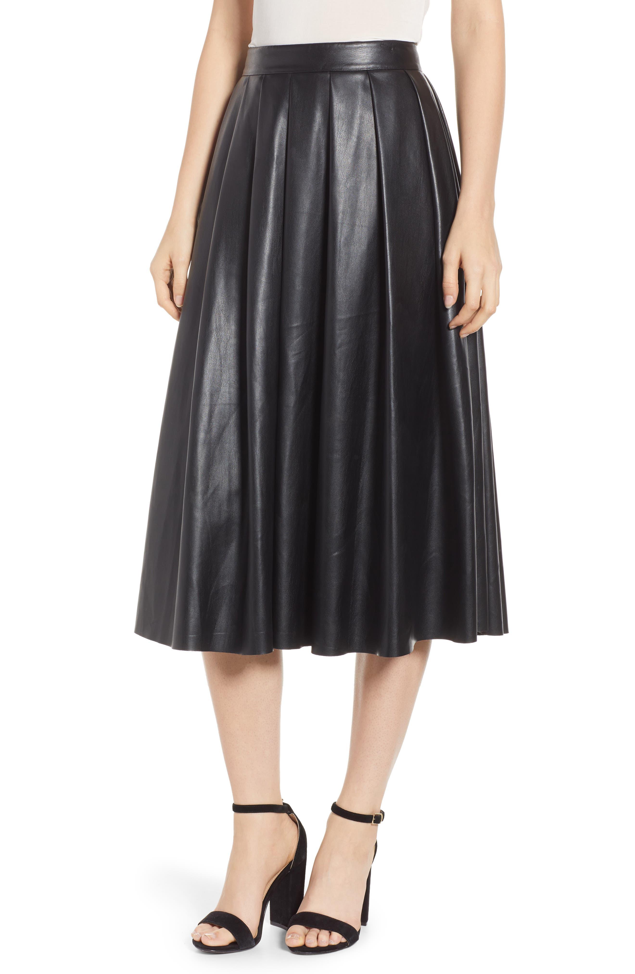 Hudson Faux Leather Midi Skirt,                             Main thumbnail 1, color,                             BLACK